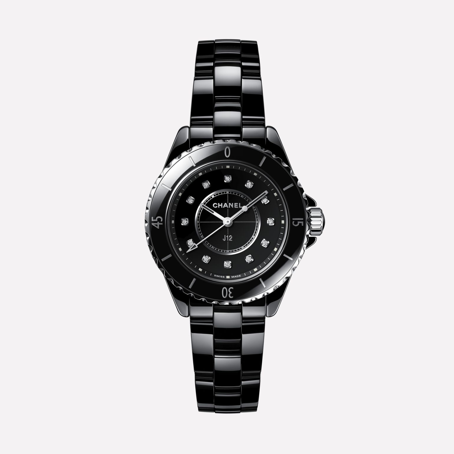 J12 Watch, 33 mm Black highly resistant ceramic, steel and diamonds