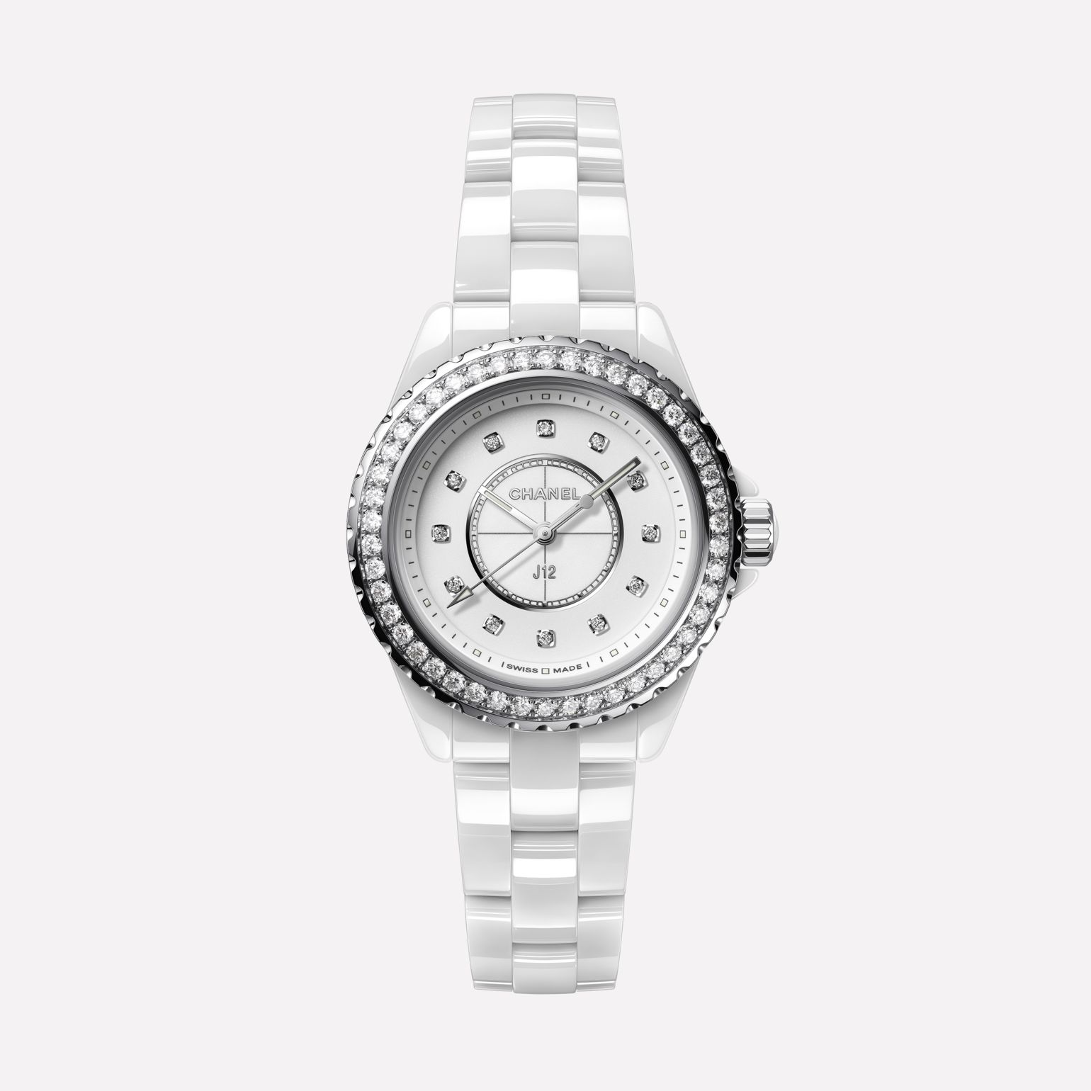 J12 Watch, 33 mm White highly resistant ceramic, steel and diamonds