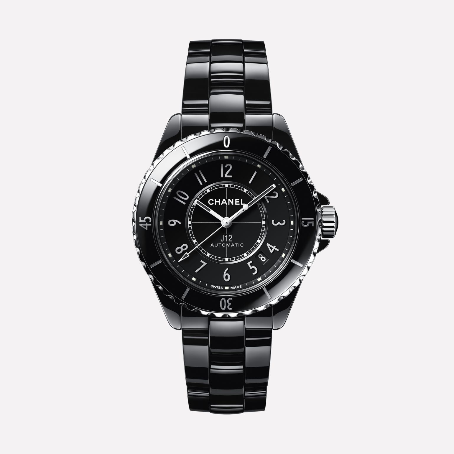 J12 Watch Caliber 12.1, 38 mm Black highly resistant ceramic and steel