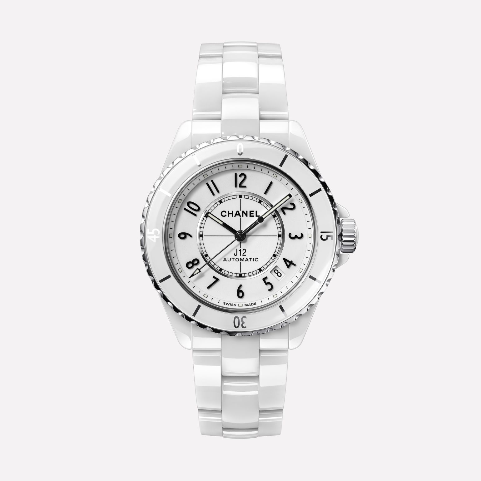 J12 Watch Caliber 12.1, 38 mm White highly resistant ceramic and steel
