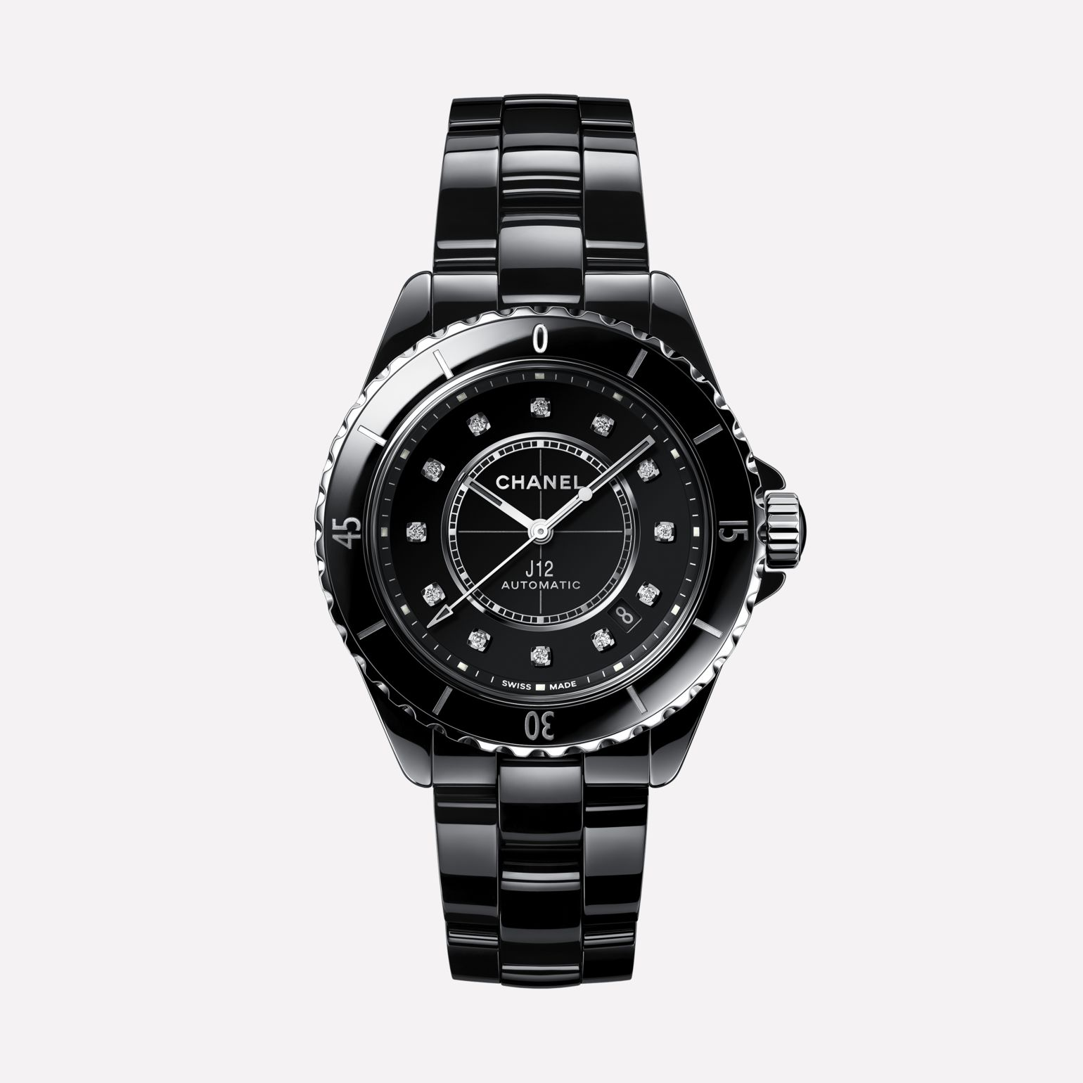 J12 Watch Caliber 12.1, 38 mm Black highly resistant ceramic, steel and diamonds