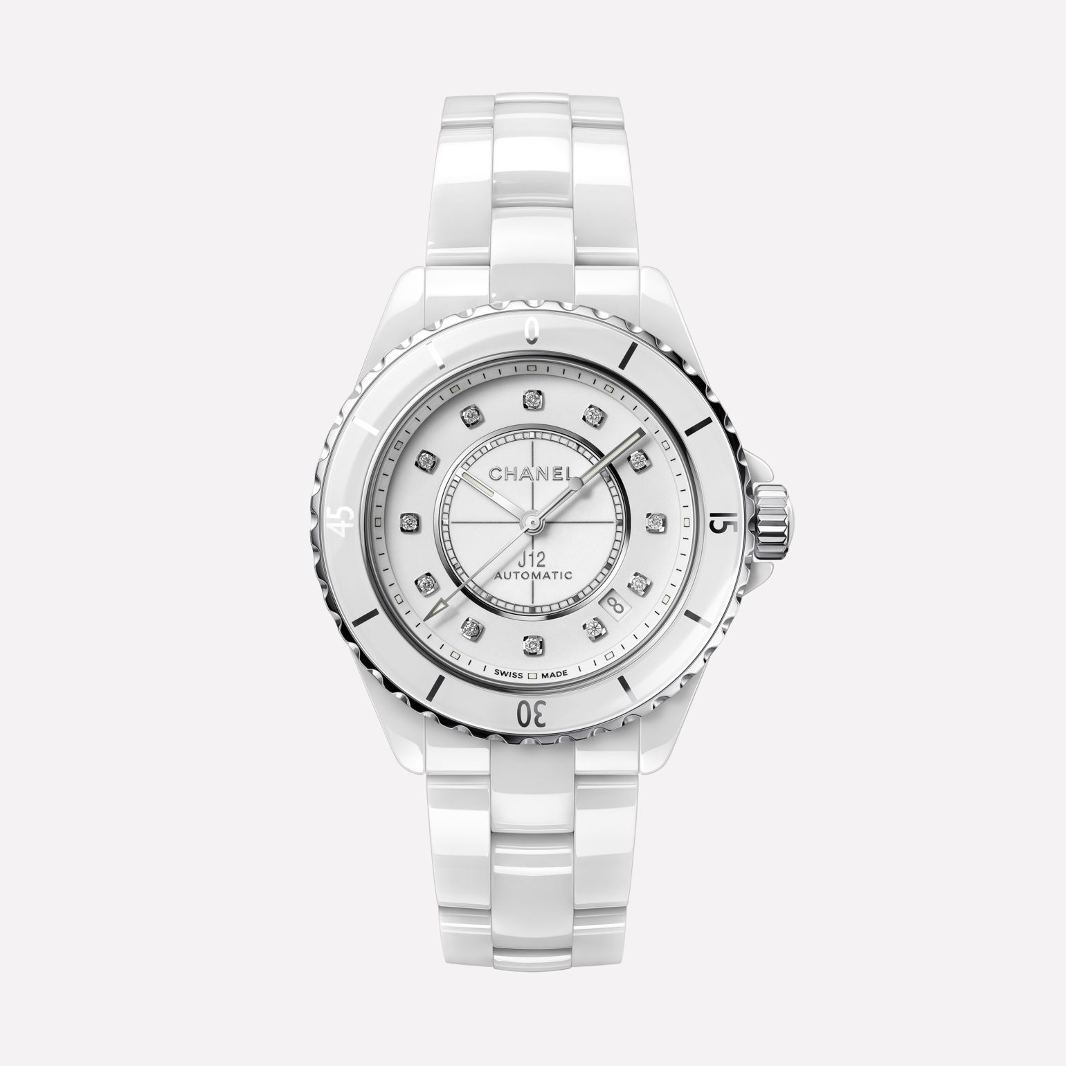 J12 Watch Caliber 12.1, 38 mm White highly resistant ceramic, steel and diamonds