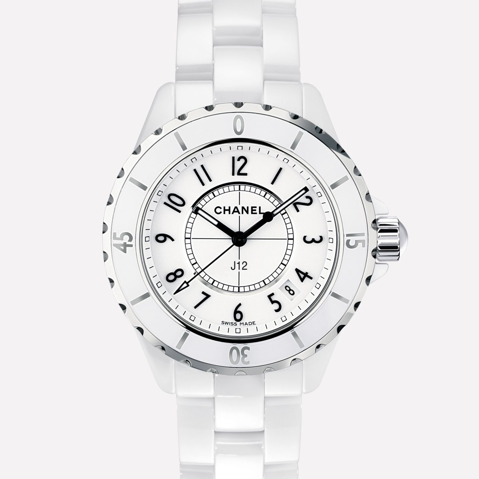 J12 Watch White ceramic and steel