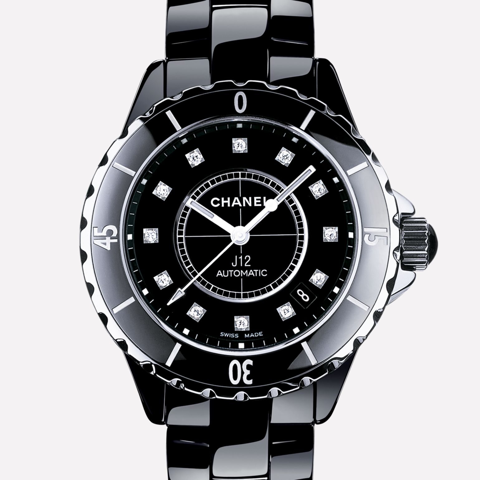 J12 Watch Black ceramic and steel, diamond indicators