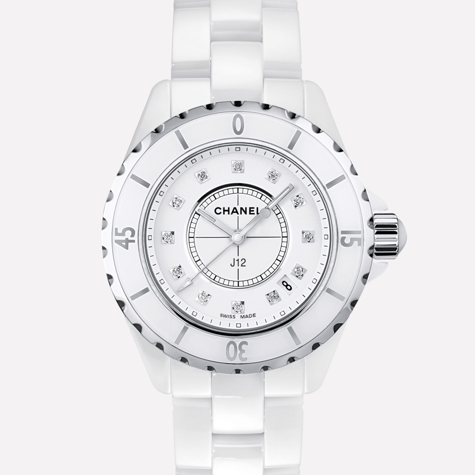 J12 Watch White highly-resistant ceramic and steel, diamond indicators