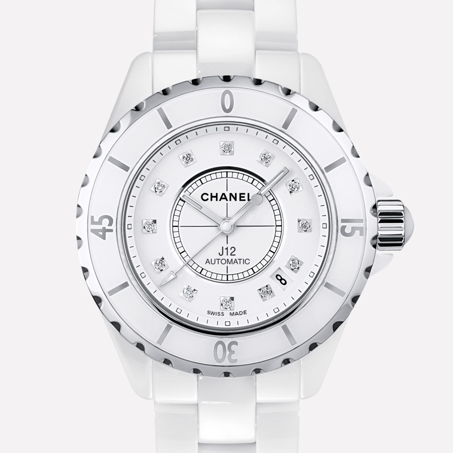 J12 Watch White ceramic and steel, diamond indicators