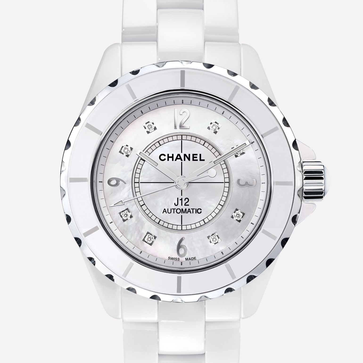 J12 Watch White ceramic and steel, diamond indicators, white mother-of-pearl dial