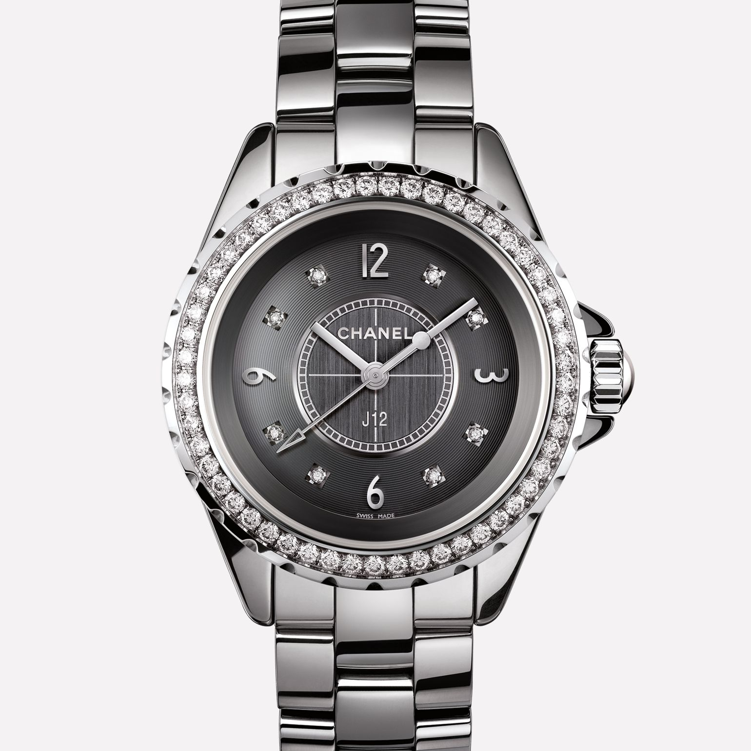 J12 Watch Titanium ceramic and steel, diamond bezel and indicators