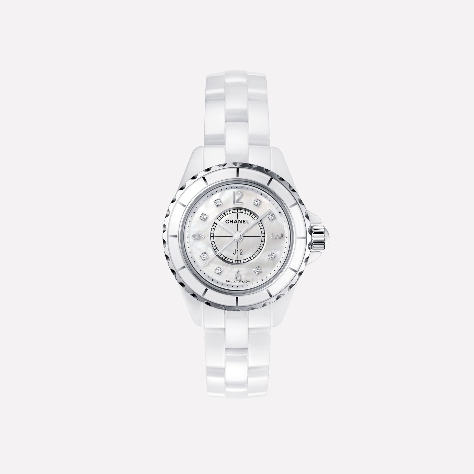 J12 Watch White highly-resistant ceramic and steel, diamond indicators, white mother-of-pearl dial