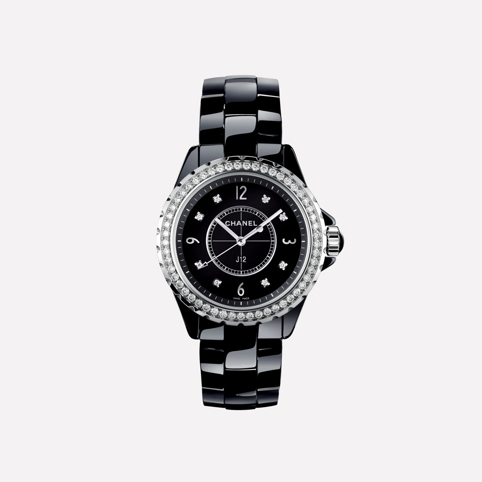 J12 Watch Black highly-resistant ceramic and steel, brilliant-cut diamond bezel and indicators