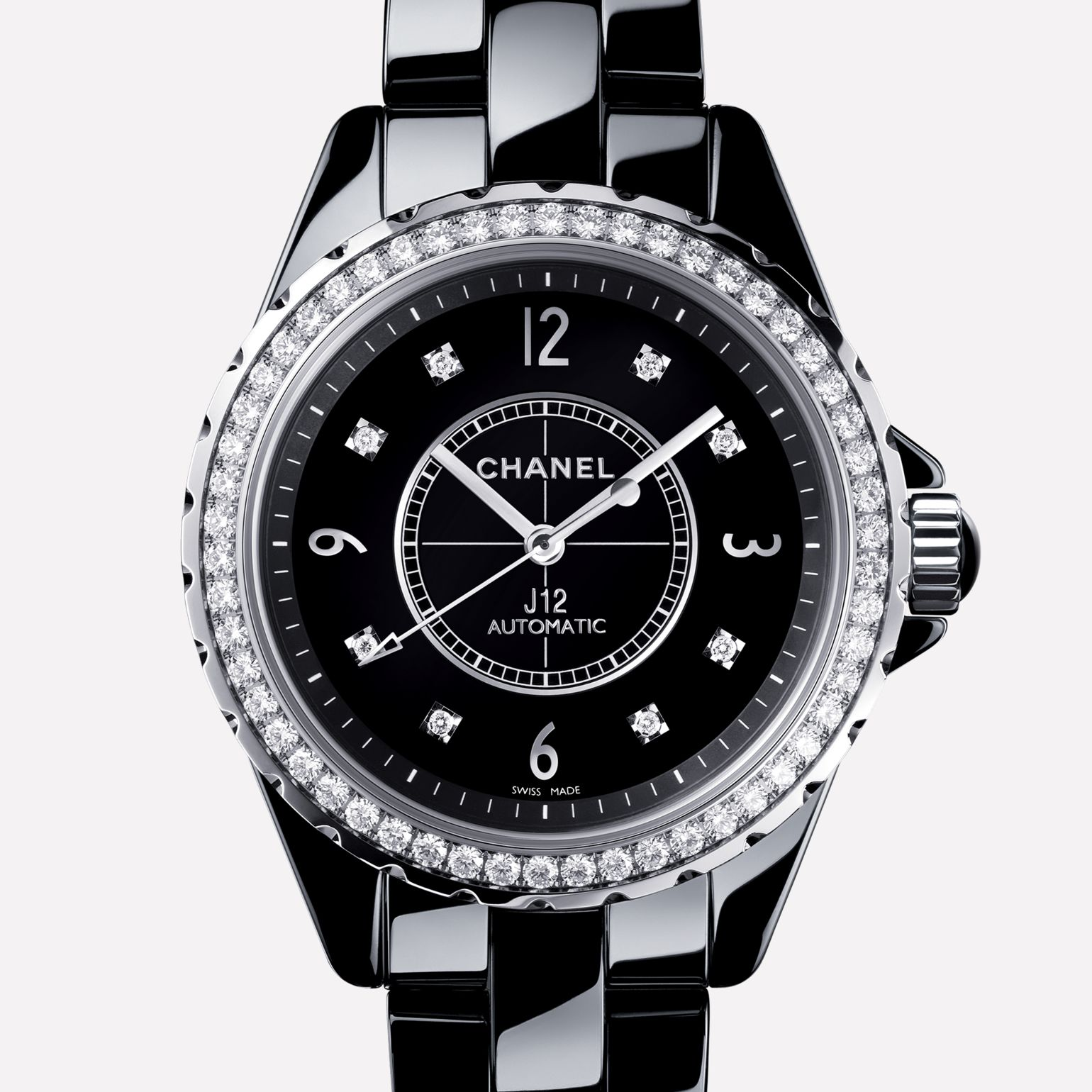 J12 Watch Black ceramic and steel, diamond bezel and indicators