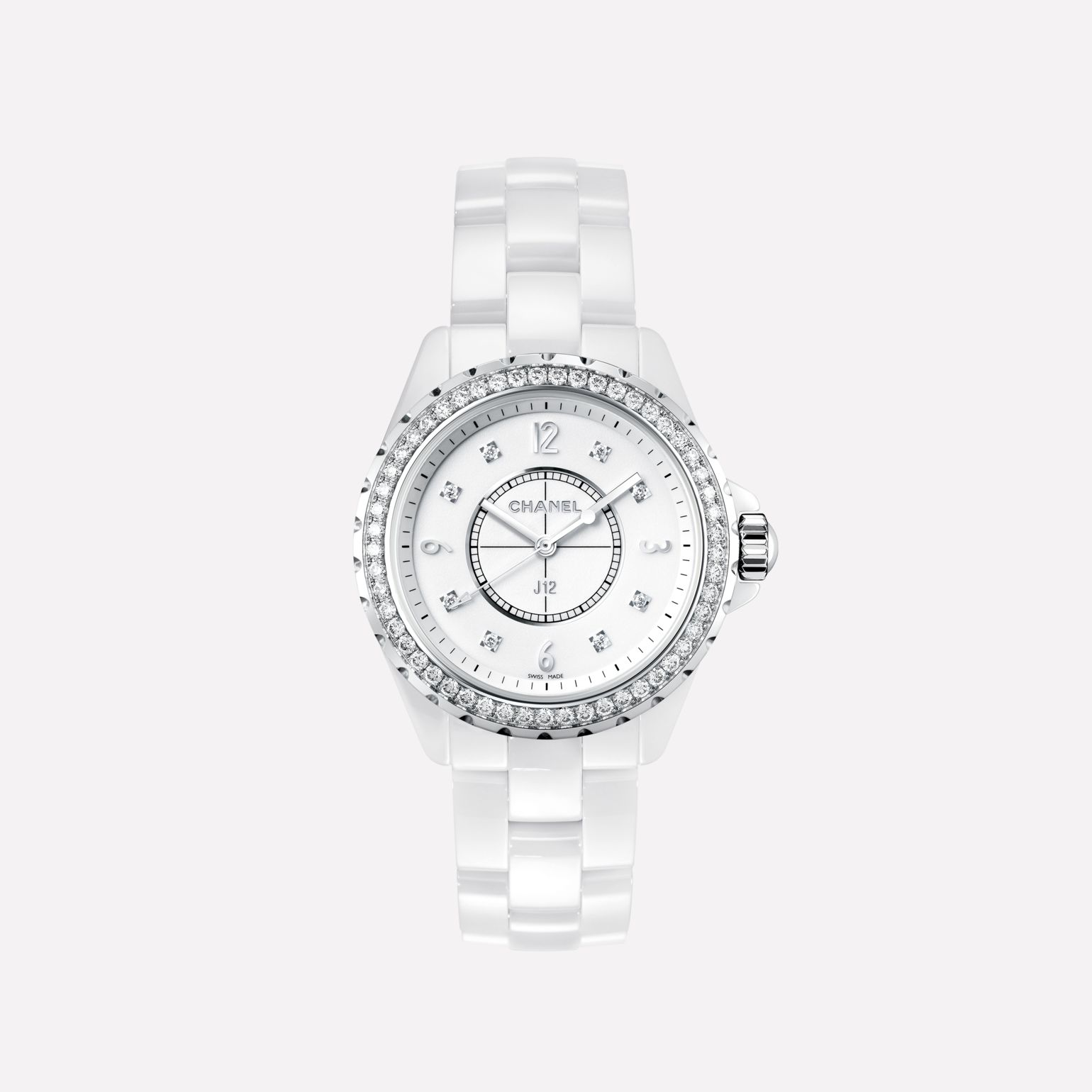 J12 Watch White highly resistant ceramic and steel, brilliant-cut diamond bezel and indicators