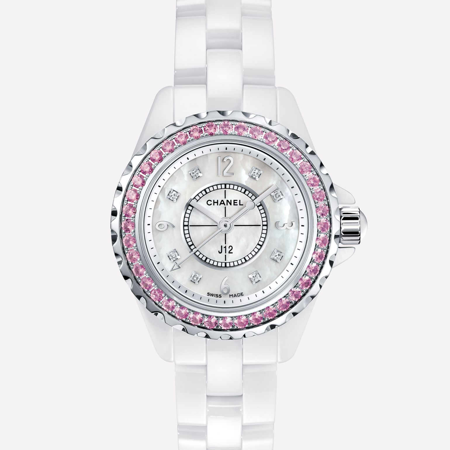 J12 Watch White ceramic and steel, bezel set with pink sapphires, diamond indicators, mother-of-pearl dial