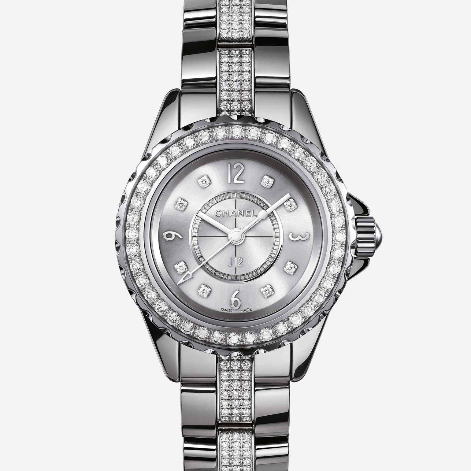 J12 Watch Titanium ceramic and steel, bezel, indicators, and strap set with diamonds
