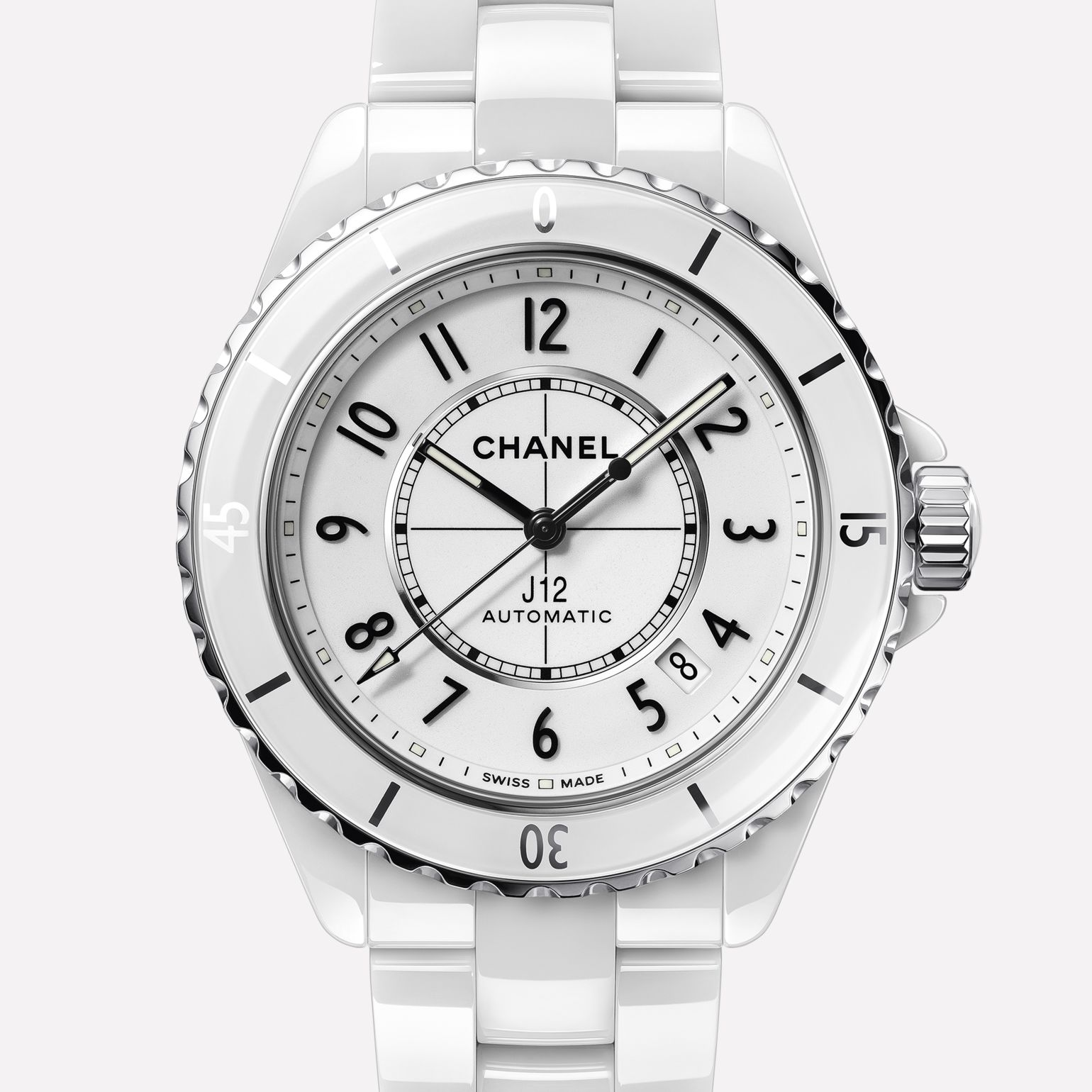 J12 Watch White highly resistant ceramic and steel
