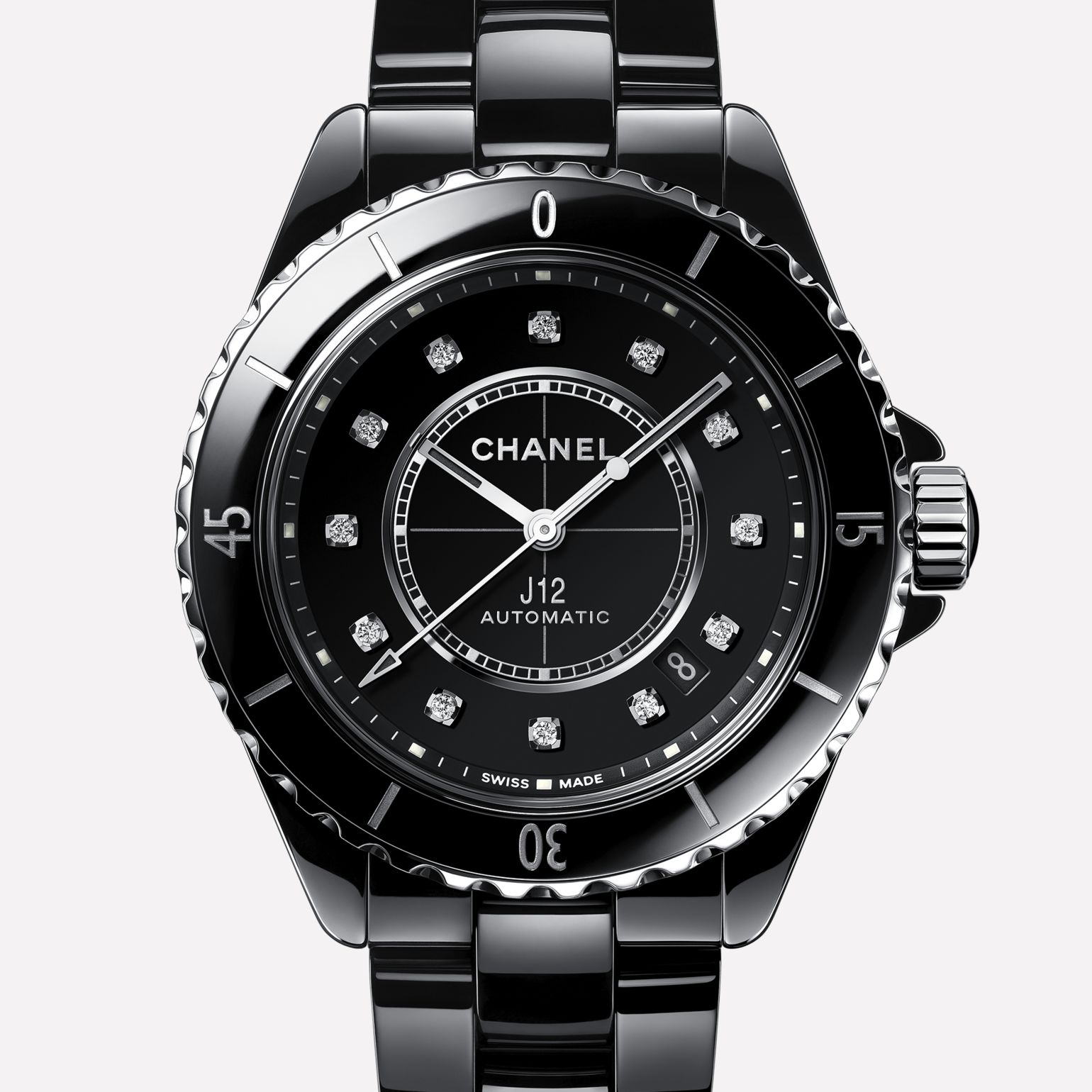 J12 Watch Black highly resistant ceramic, steel and diamonds