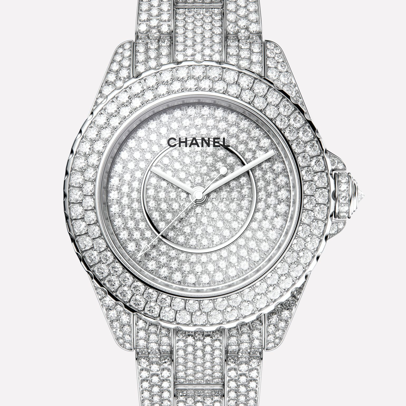 J12 Watch 18K white gold case, dial, bezel, crown and bracelet set with brilliant-cut diamonds