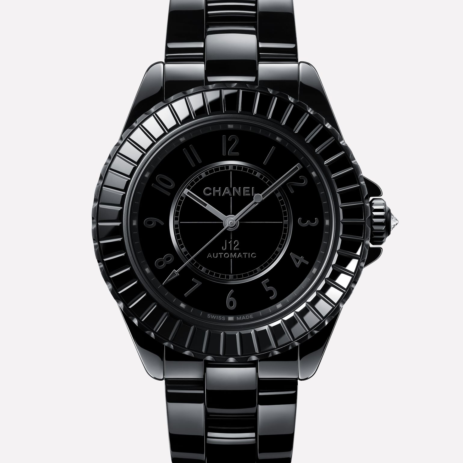 J12 Watch Black highly-resistant ceramic and steel and diamond