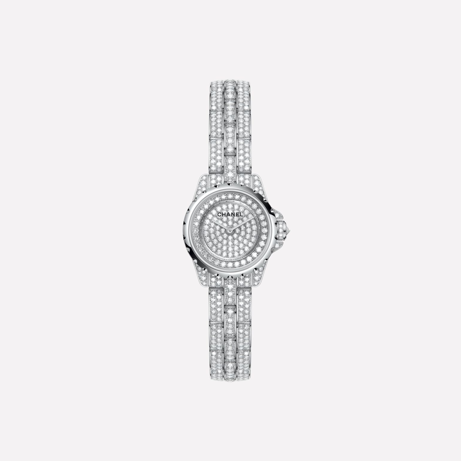 J12·XS High Jewelry Watch, 19 mm White gold, case, dial, bezel, and bracelet set with brilliant-cut diamonds