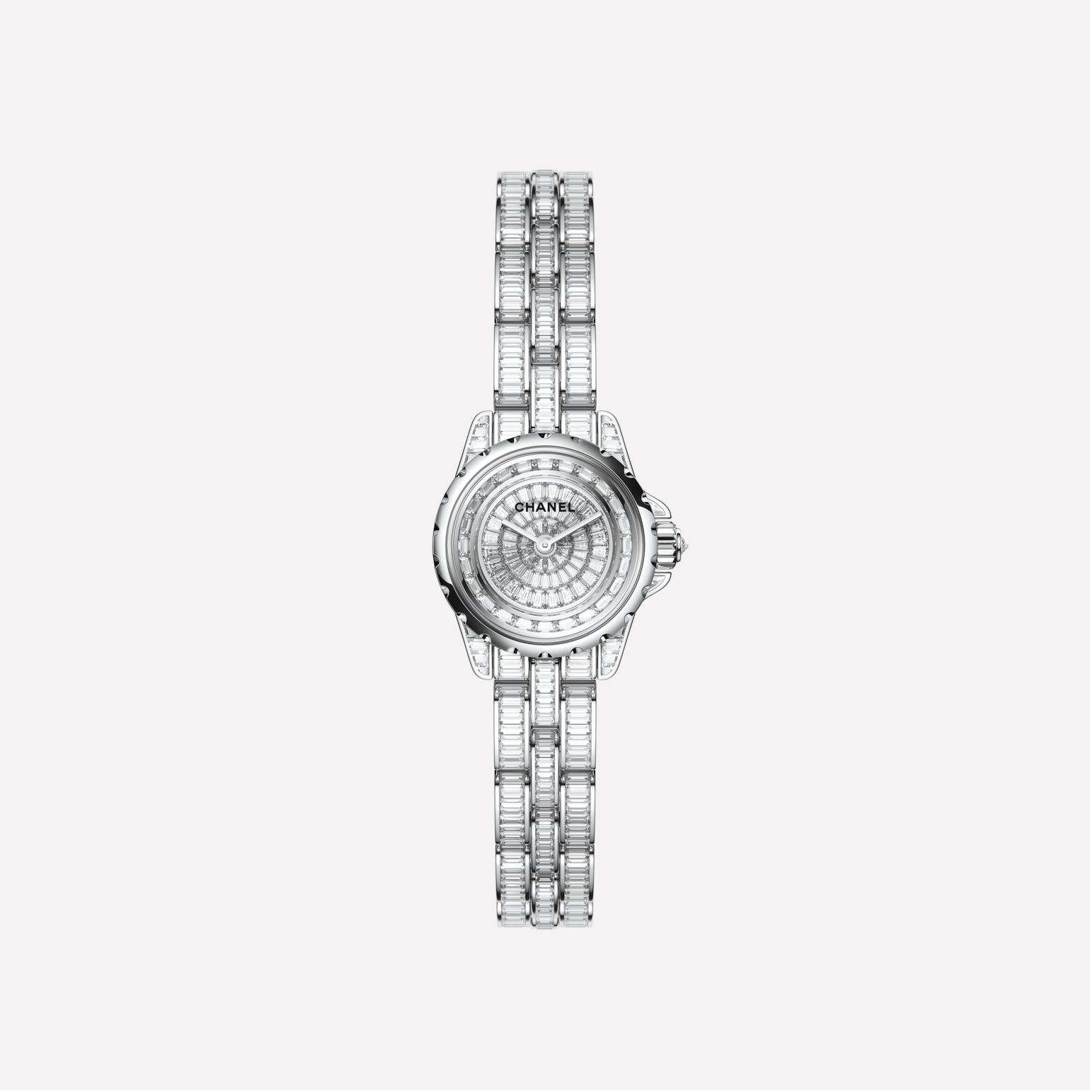 J12·XS High Jewelry Watch, 19 mm White gold, case, dial, flange, and bracelet set with baguette-cut diamonds