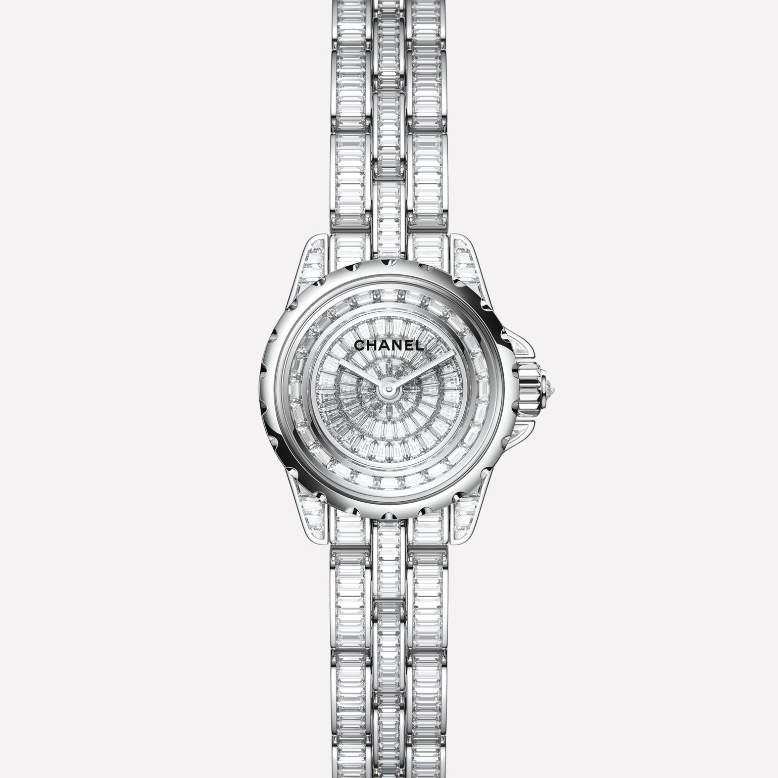J12·XS High Jewelry Watch White gold, case, dial, flange, and bracelet set with baguette-cut diamonds
