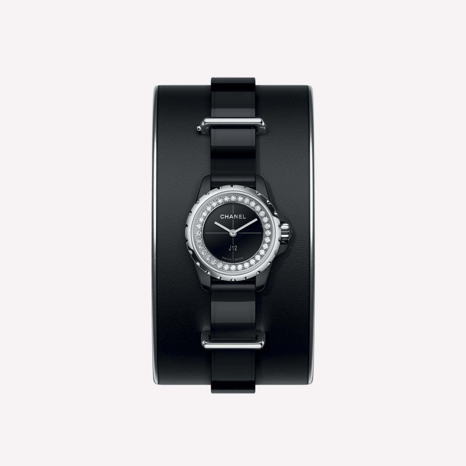 J12·XS Watch, 19 mm  Small black leather cuff, black highly resistant ceramic and steel, brilliant-cut diamond flange