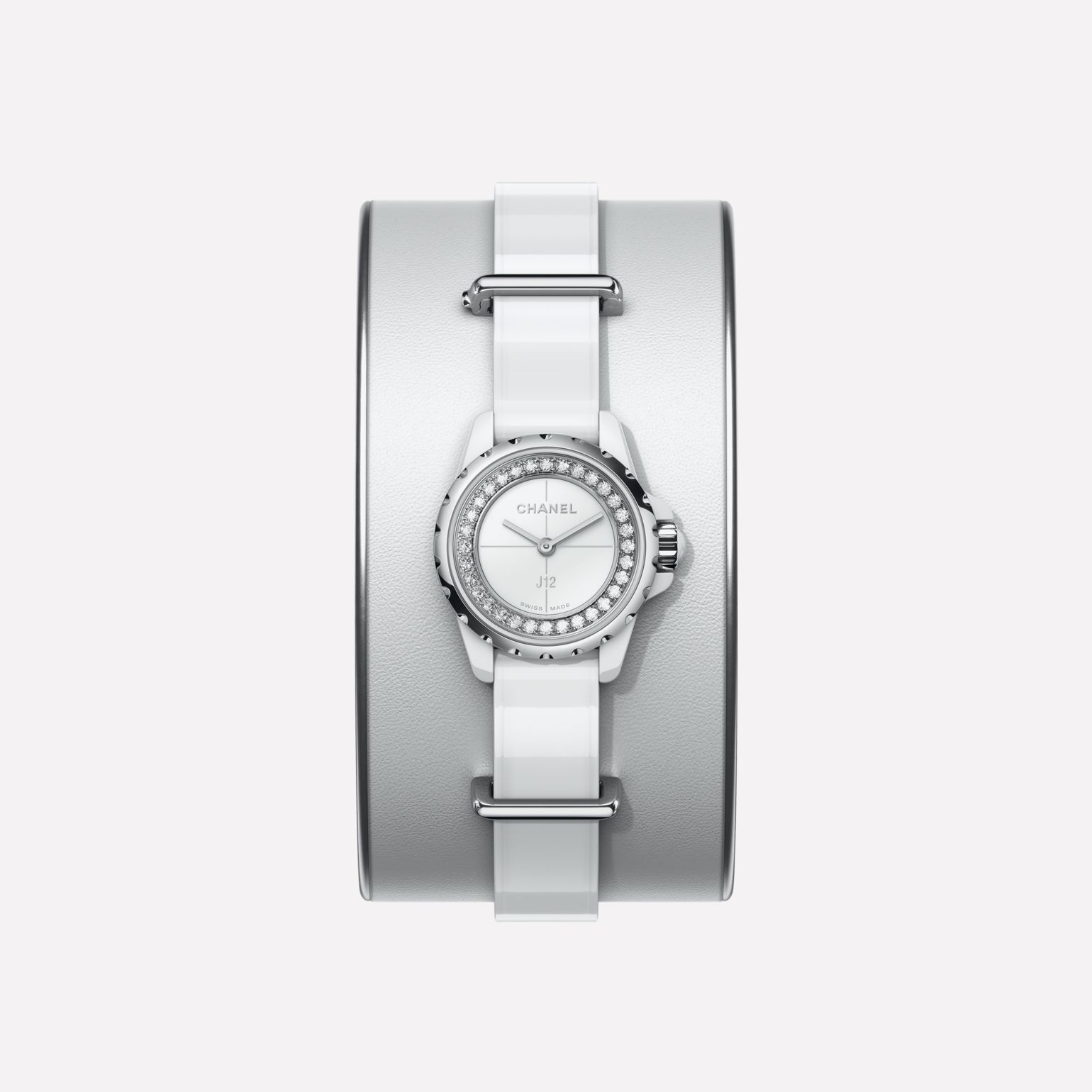J12·XS Watch, 19 mm Small white leather cuff, white highly resistant ceramic and steel, brilliant-cut diamond flange
