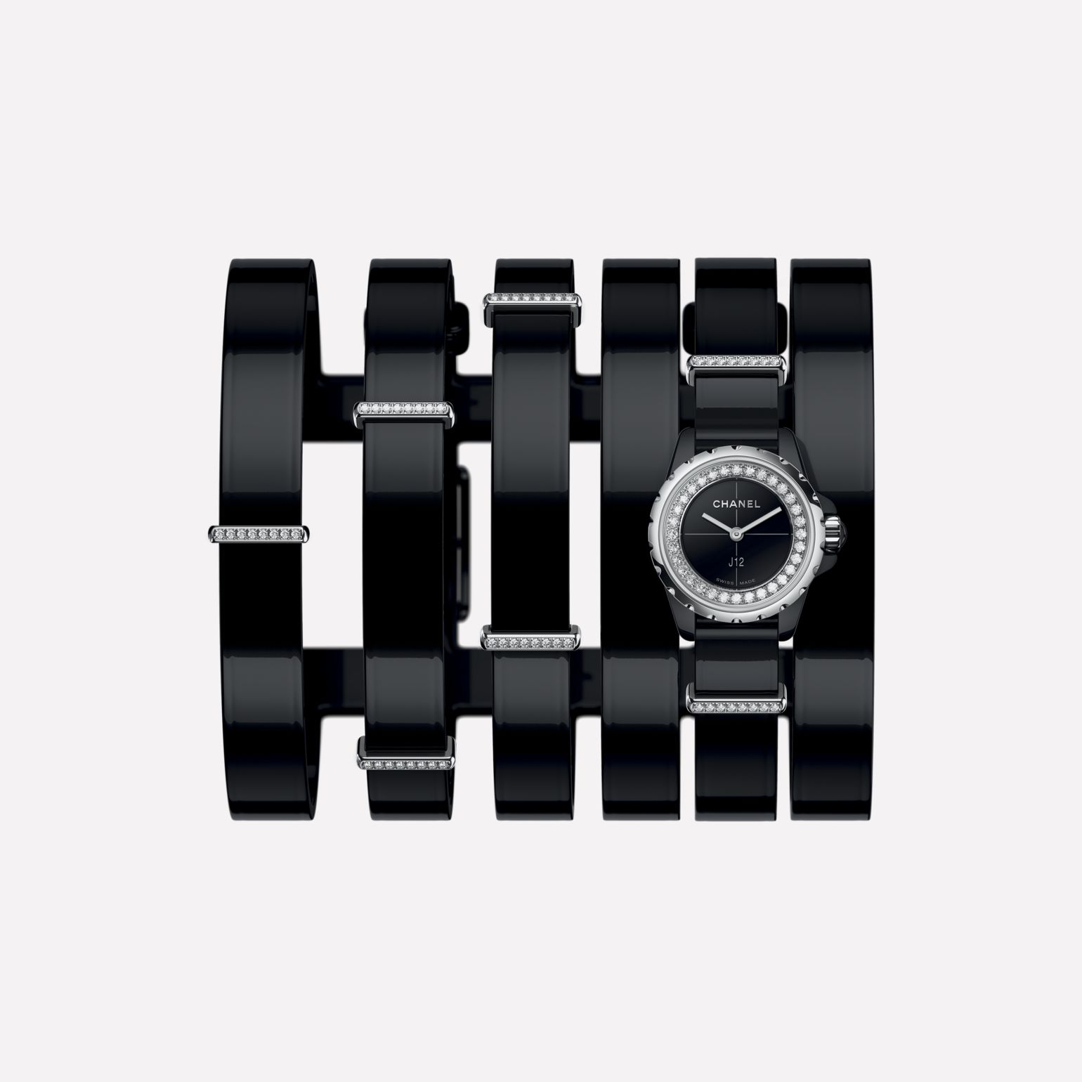 J12·XS Watch, 19 mm Large black leather cuff, black highly-resistant ceramic and steel, brilliant-cut diamond flange and loops