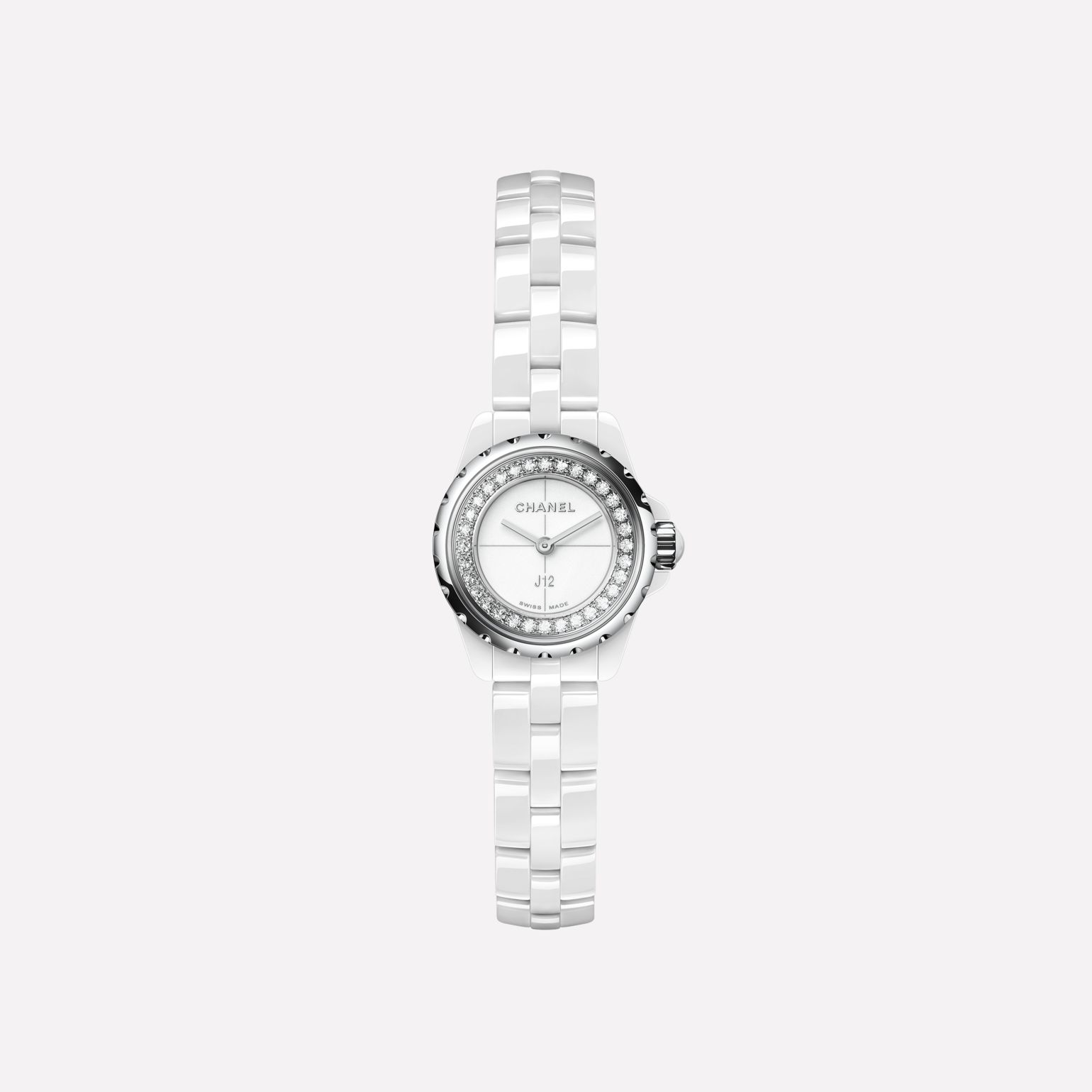 J12∙XS Watch, 19 mm White highly-resistant ceramic and steel, brilliant-cut diamond flange