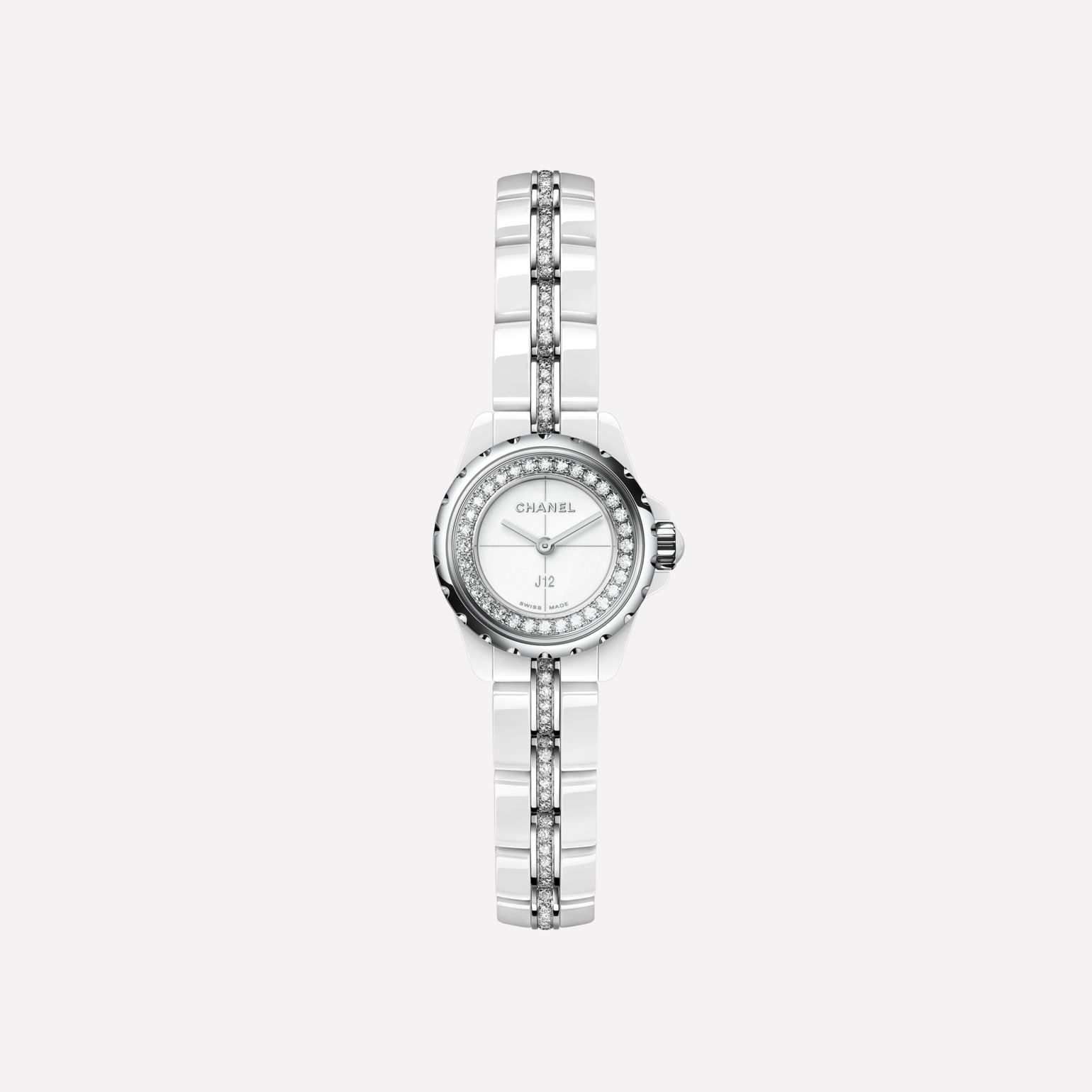 J12∙XS Watch, 19 mm White highly-resistant ceramic and steel, brilliant-cut diamond flange and bracelet