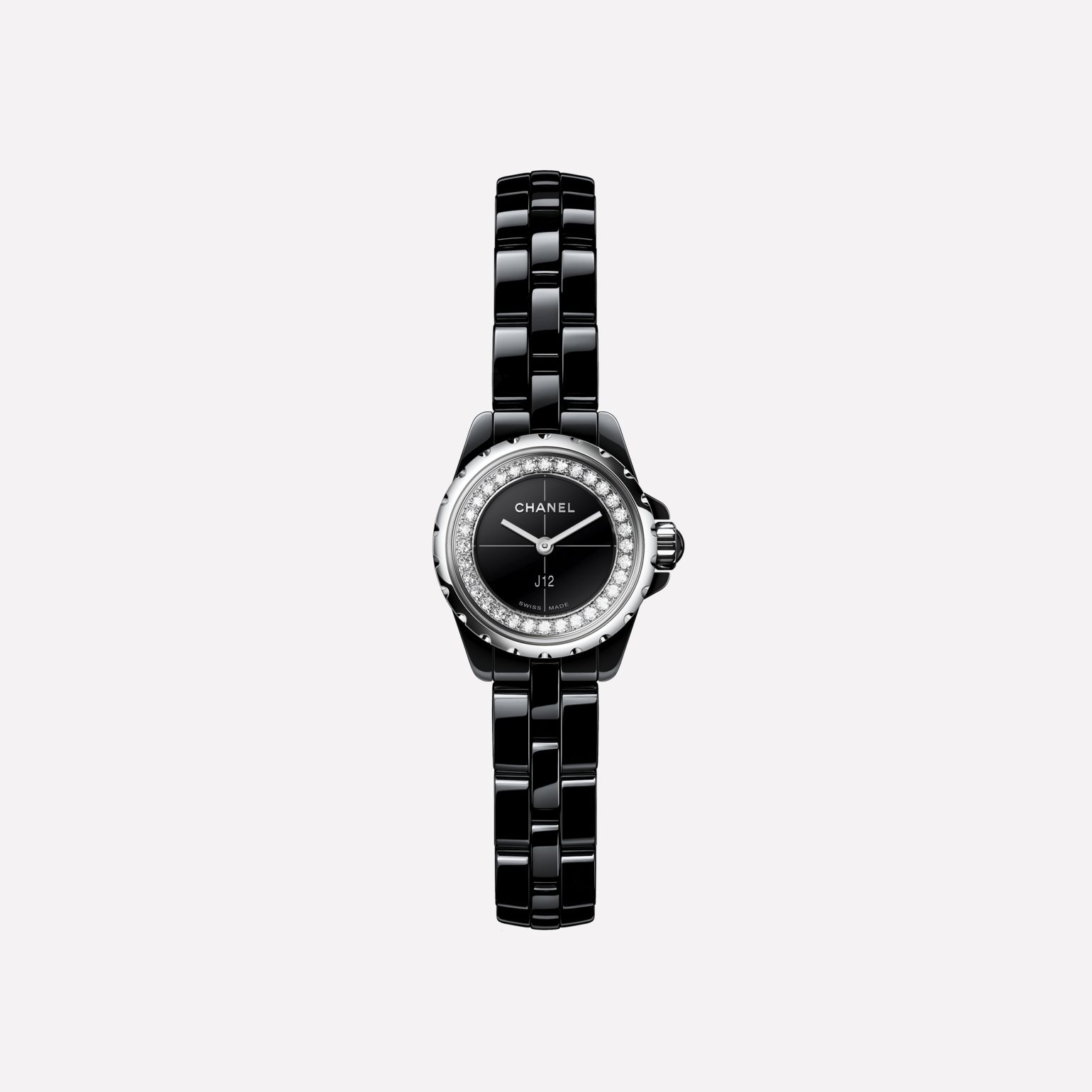 J12∙XS Watch Black highly-resistant ceramic and steel, brilliant-cut diamond flange