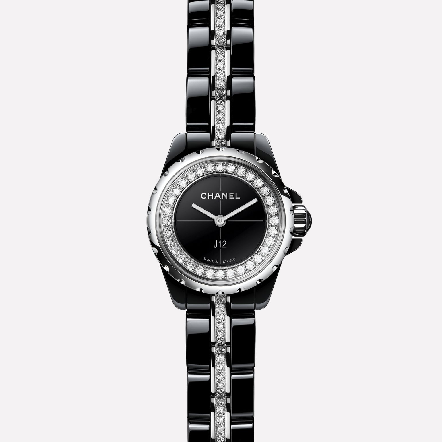 J12∙XS Watch Black highly-resistant ceramic and steel, brilliant-cut diamond flange and bracelet