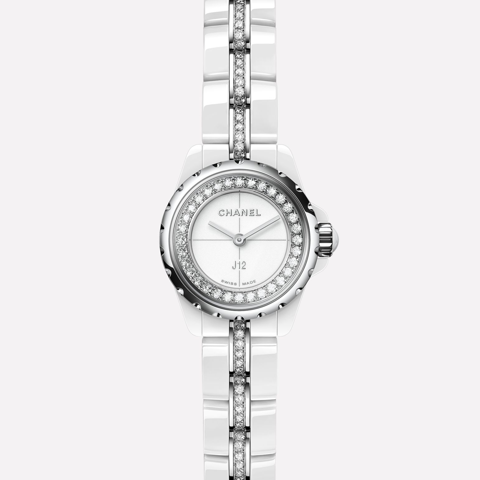 J12∙XS Watch White ceramic and steel, flange and bracelet set with diamonds