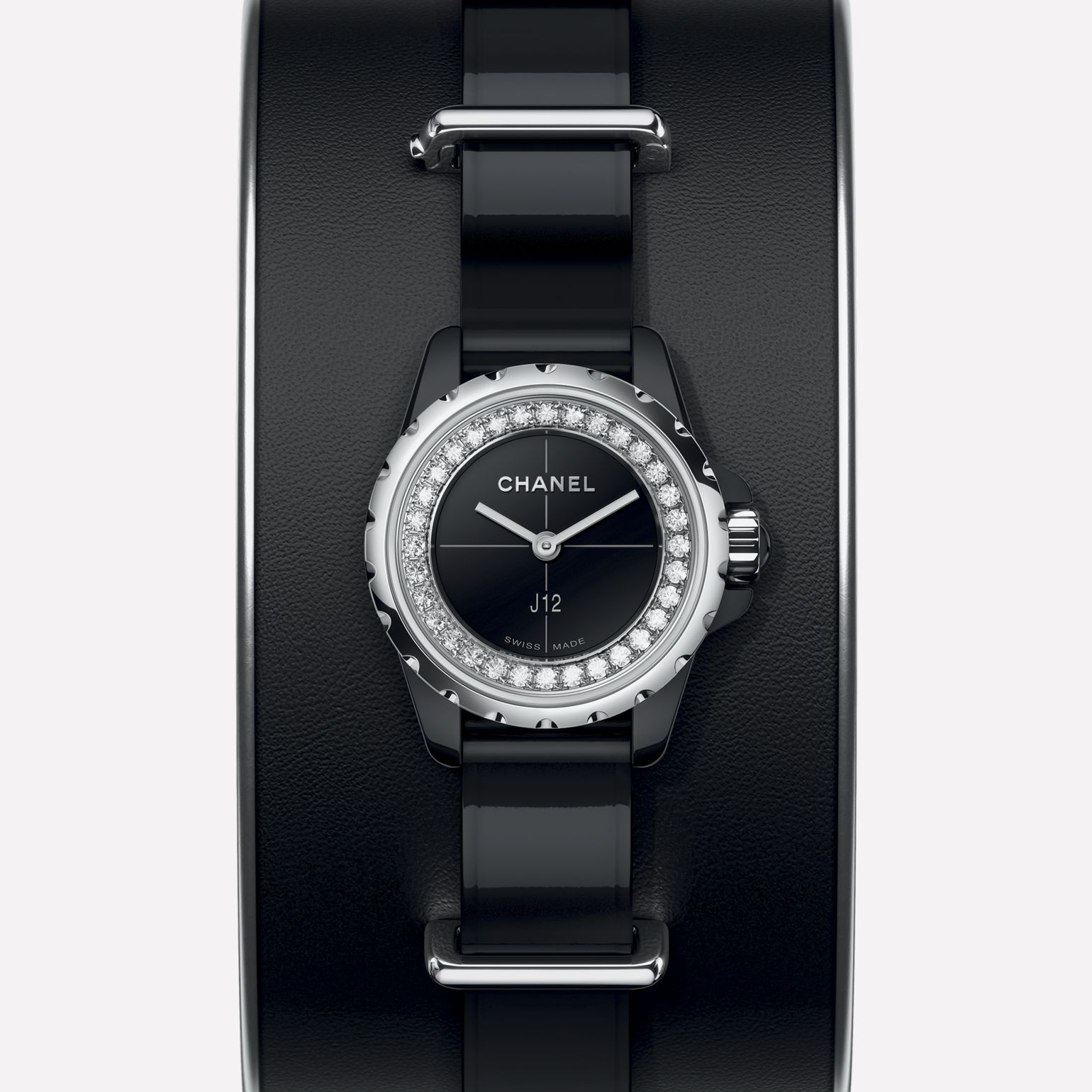 J12·XS Small cuff in black leather, black ceramic and steel, flange set with diamonds