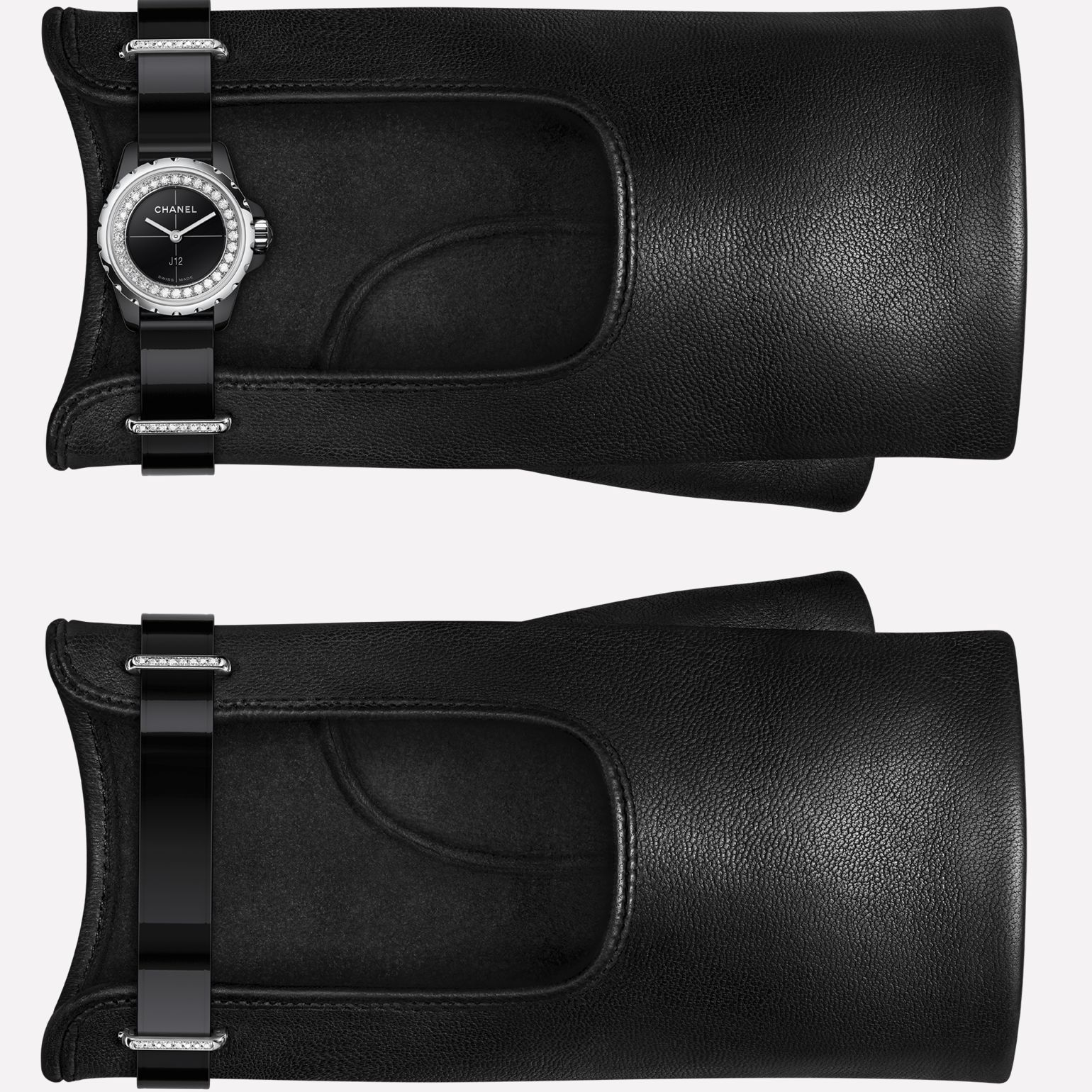 J12·XS Gloves in black leather, black ceramic and steel, flange and loops set with diamonds