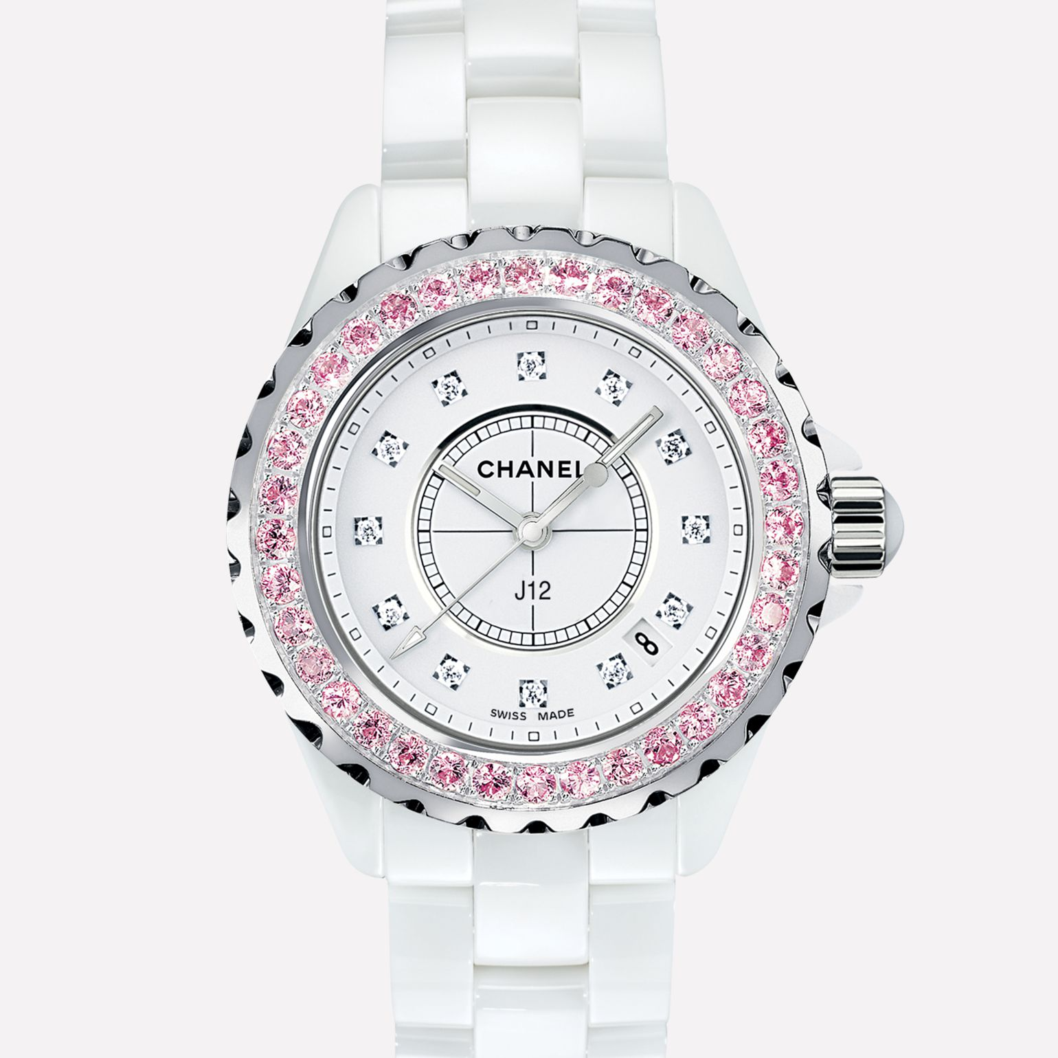J12 White ceramic and steel, bezel set with pink sapphires, diamond indicators