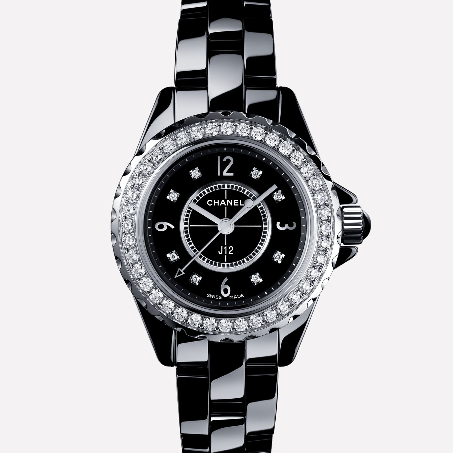 J12 Black highly resistant ceramic and steel, brilliant-cut diamond bezel and indicators