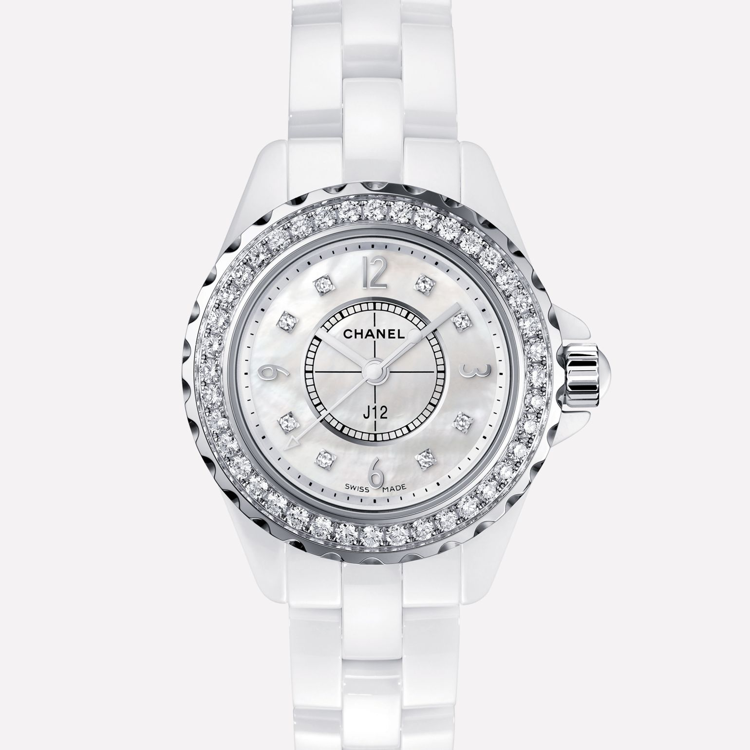 J12 White highly resistant ceramic and steel, brilliant cut diamond bezel and indicators, white mother-of-pearl dial