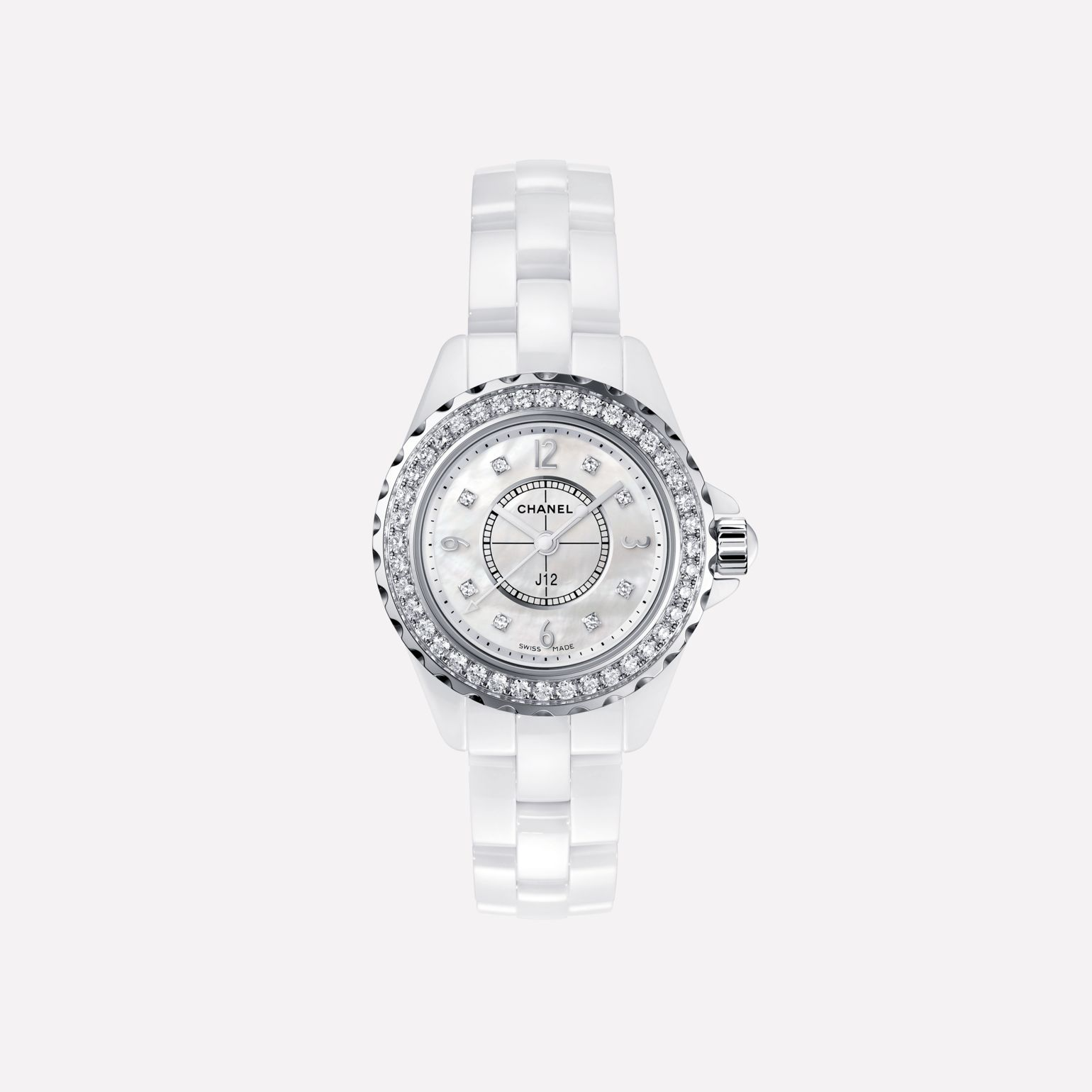 J12 White highly resistant ceramic and steel, brilliant-cut diamond bezel and indicators, white mother-of-pearl dial