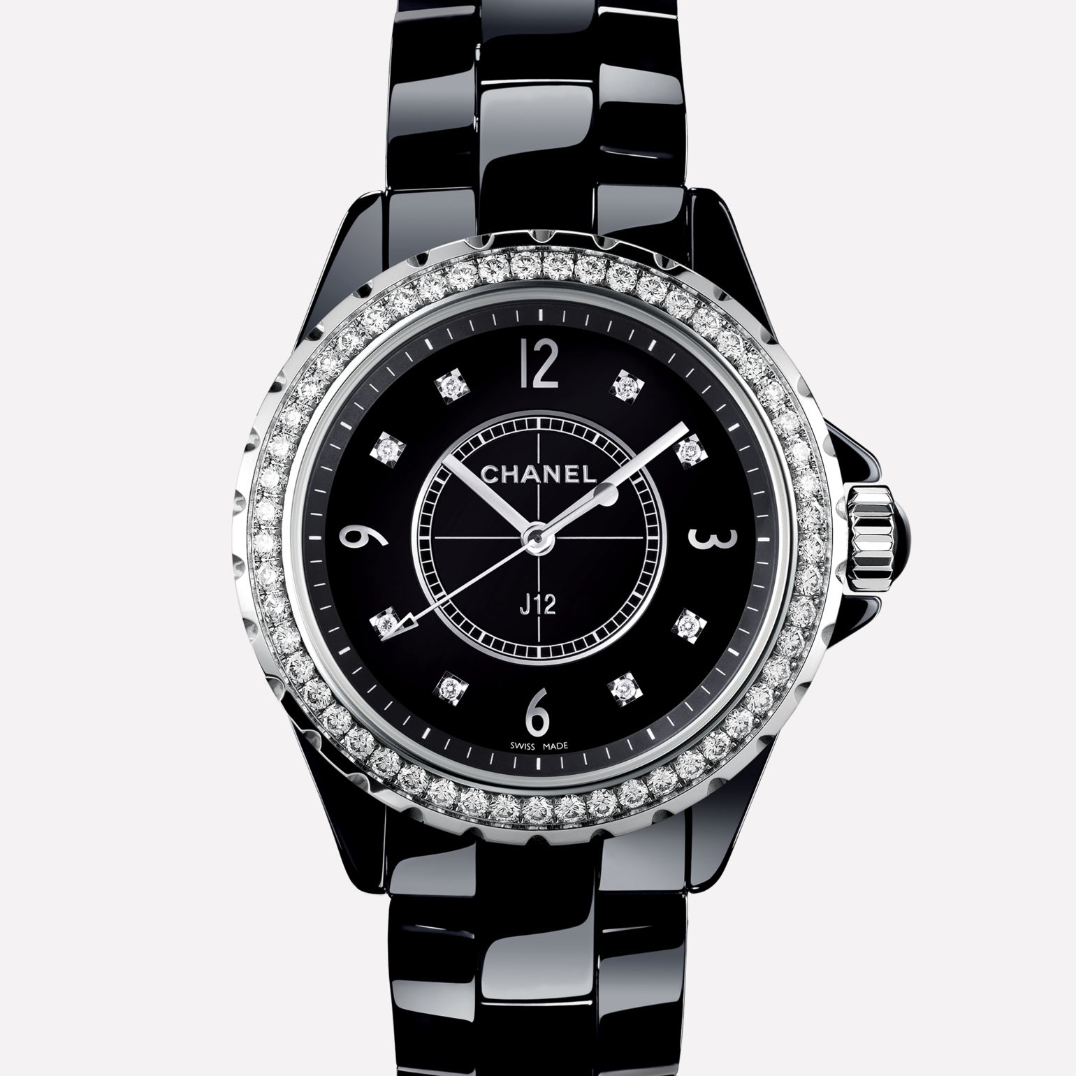 J12 Black highly resistant ceramic and steel, brilliant cut diamond bezel and indicators
