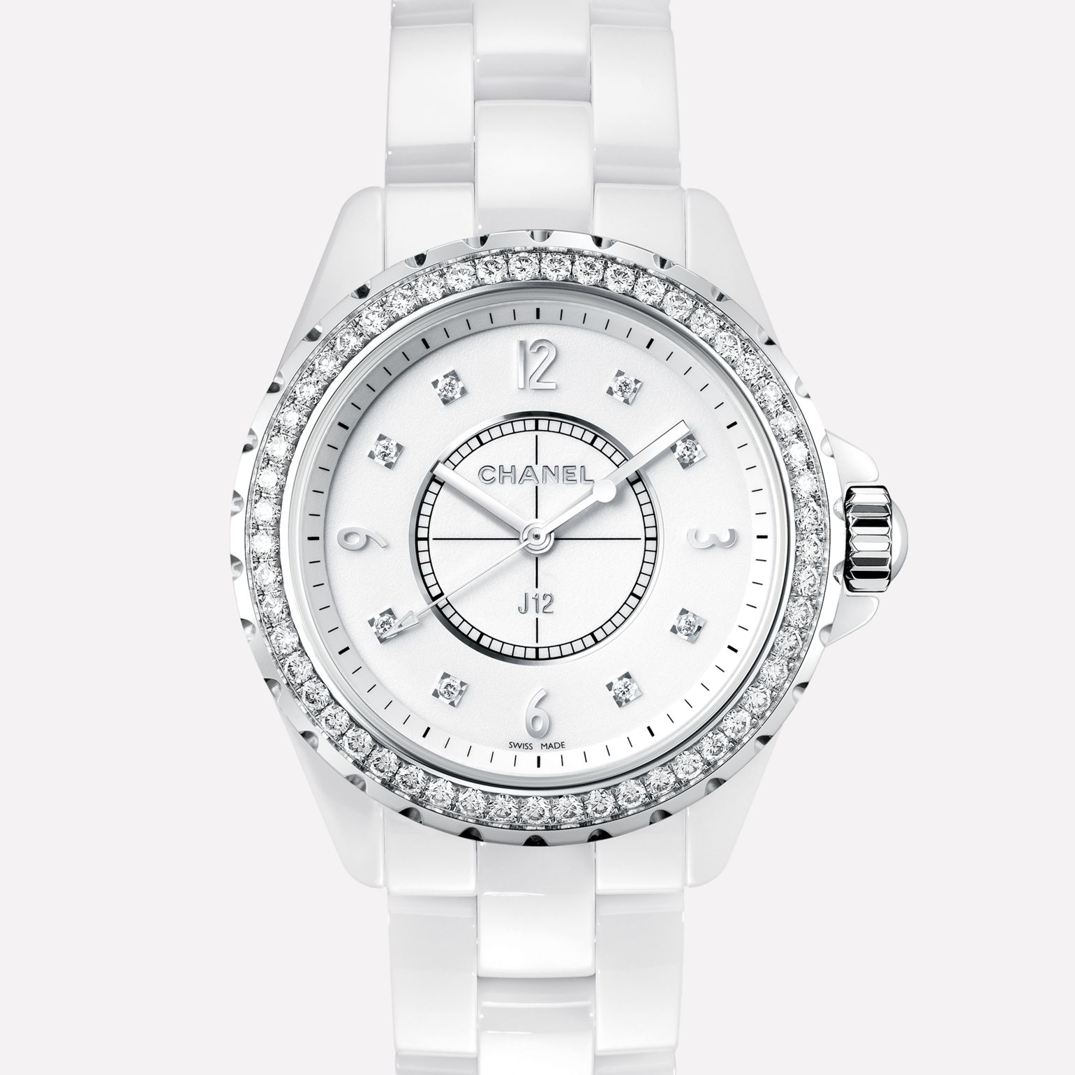 J12 White ceramic and steel, diamond bezel and indicators