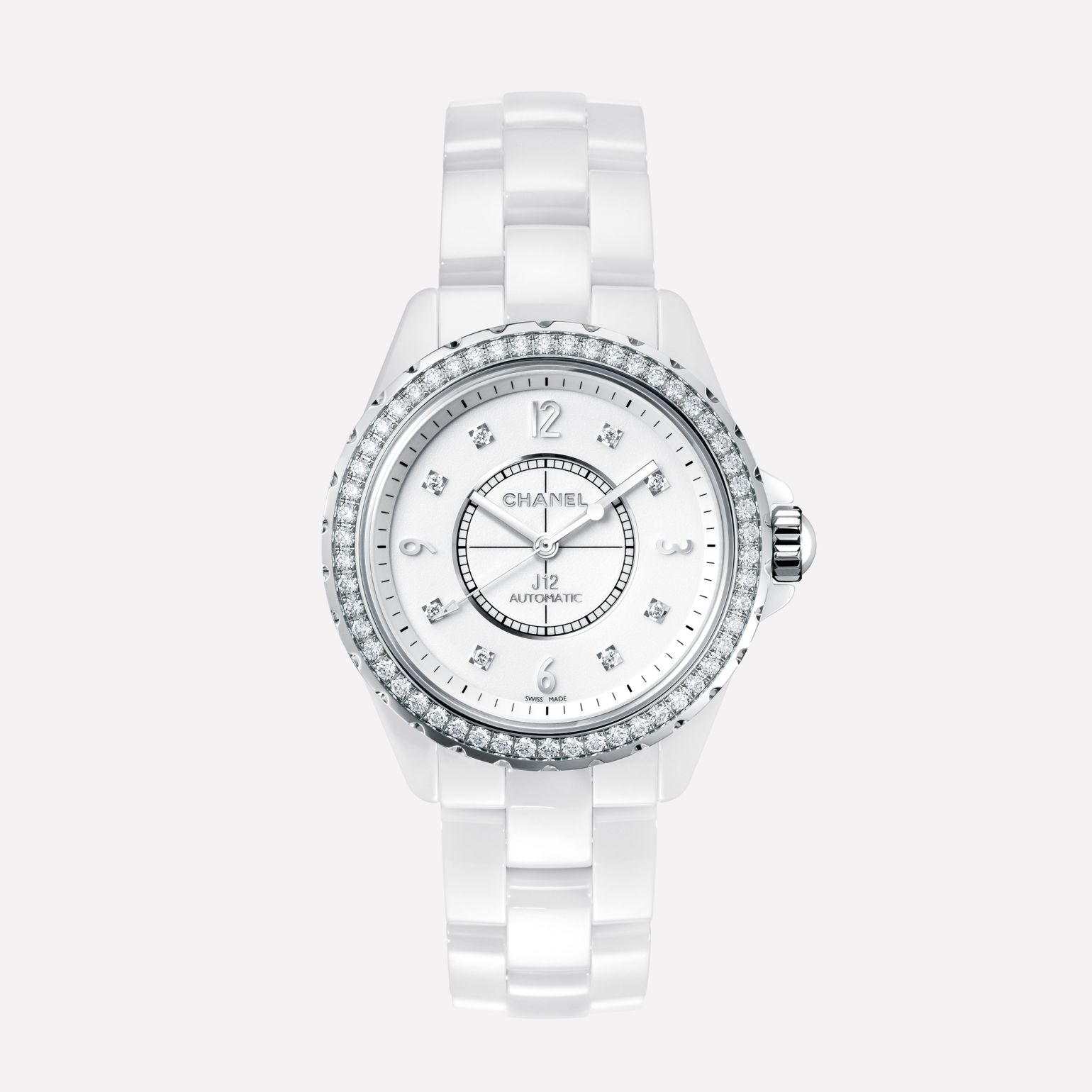 J12 White highly resistant ceramic and steel, brilliant-cut diamond bezel and indicators