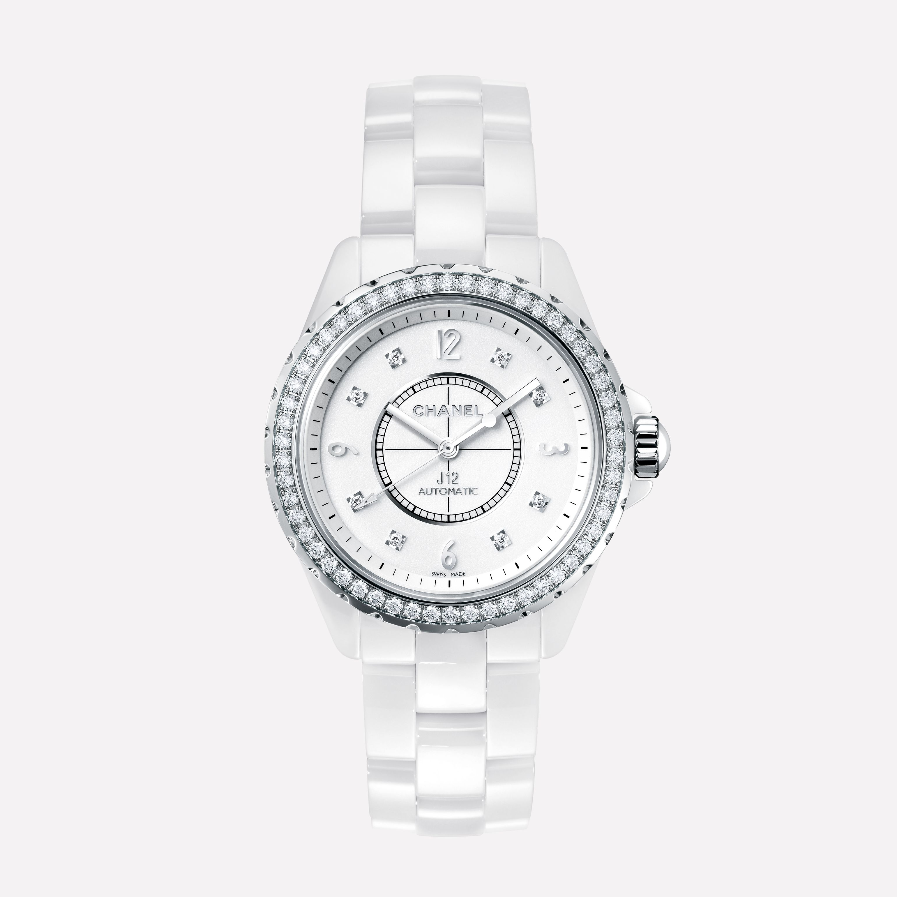 chanel watches for women. j12 white ceramic and steel, diamond bezel indicators chanel watches for women