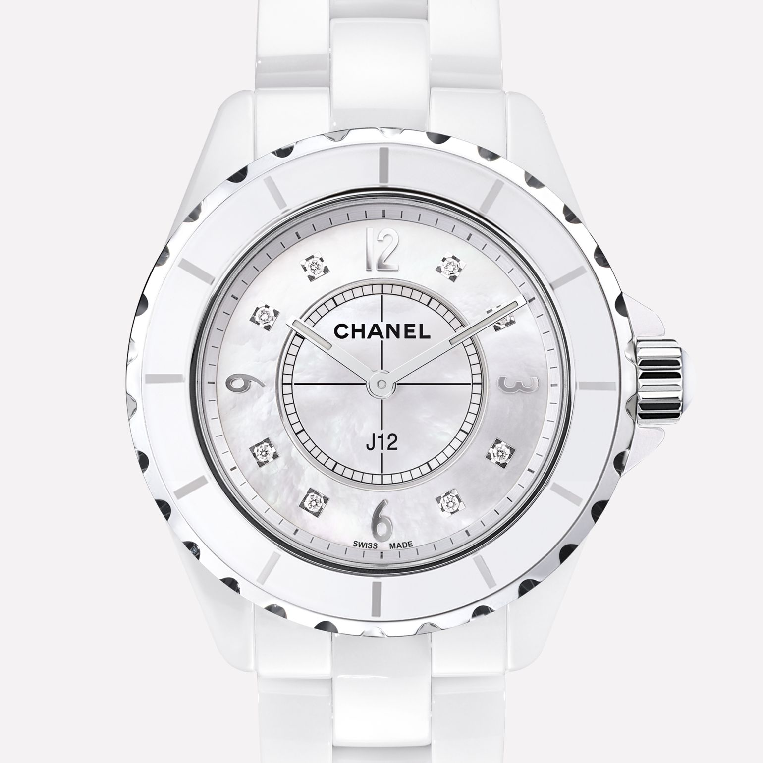 J12 White ceramic and steel, diamond indicators, mother-of-pearl dial