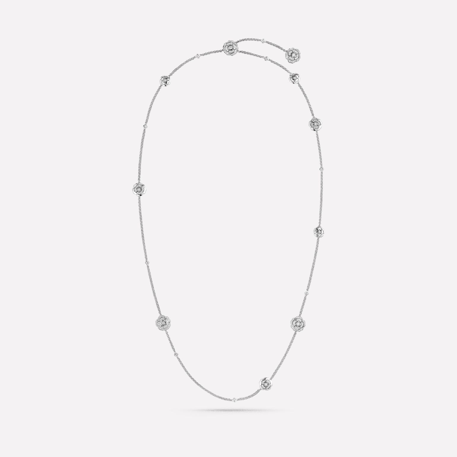 Les infinis de Camélia Transformable long necklace, 18K white gold, diamonds
