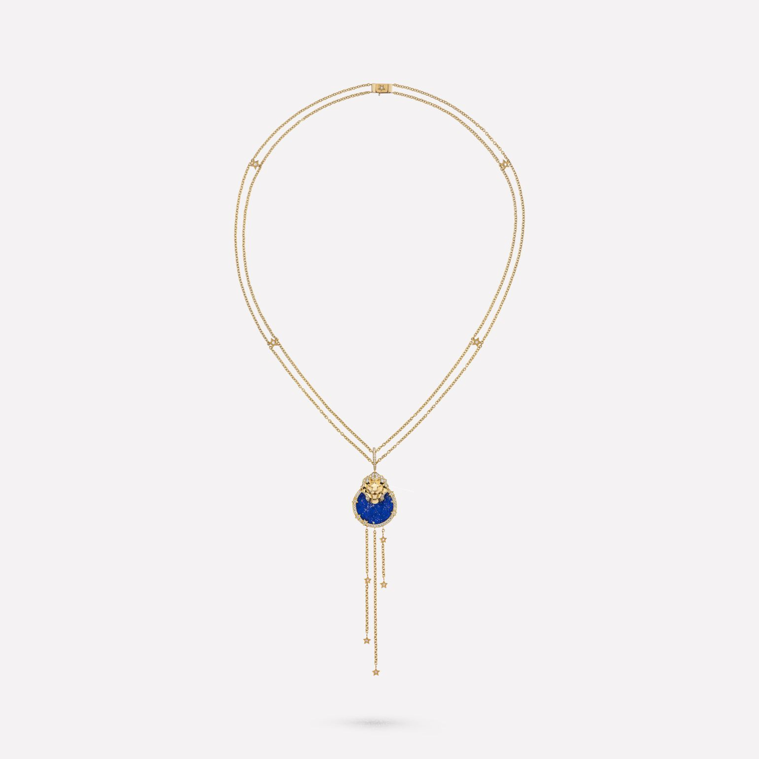 Lion Médaille long necklace 18K yellow gold, diamonds, lapis lazuli