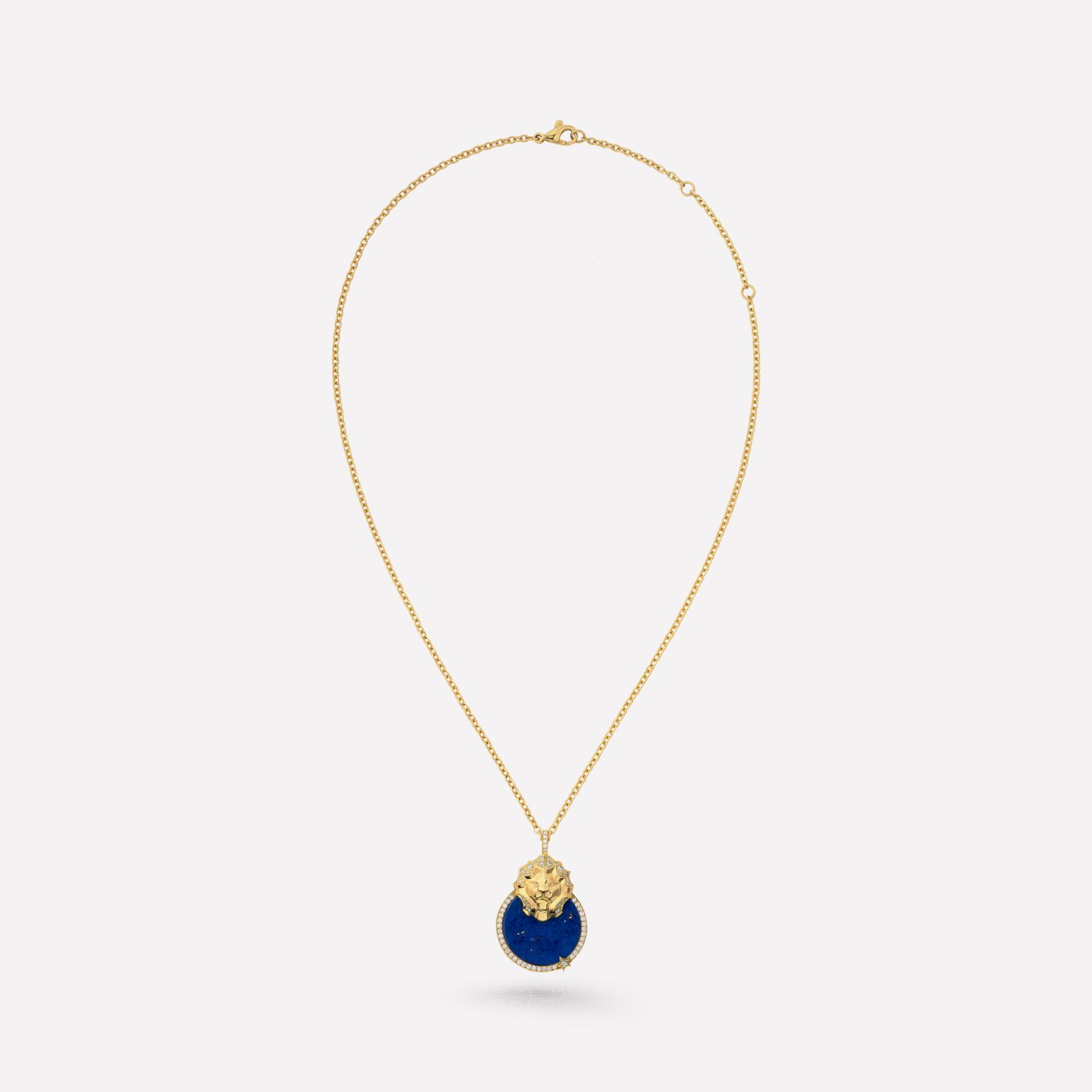 Lion Médaille necklace 18K yellow gold, diamonds, lapis lazuli