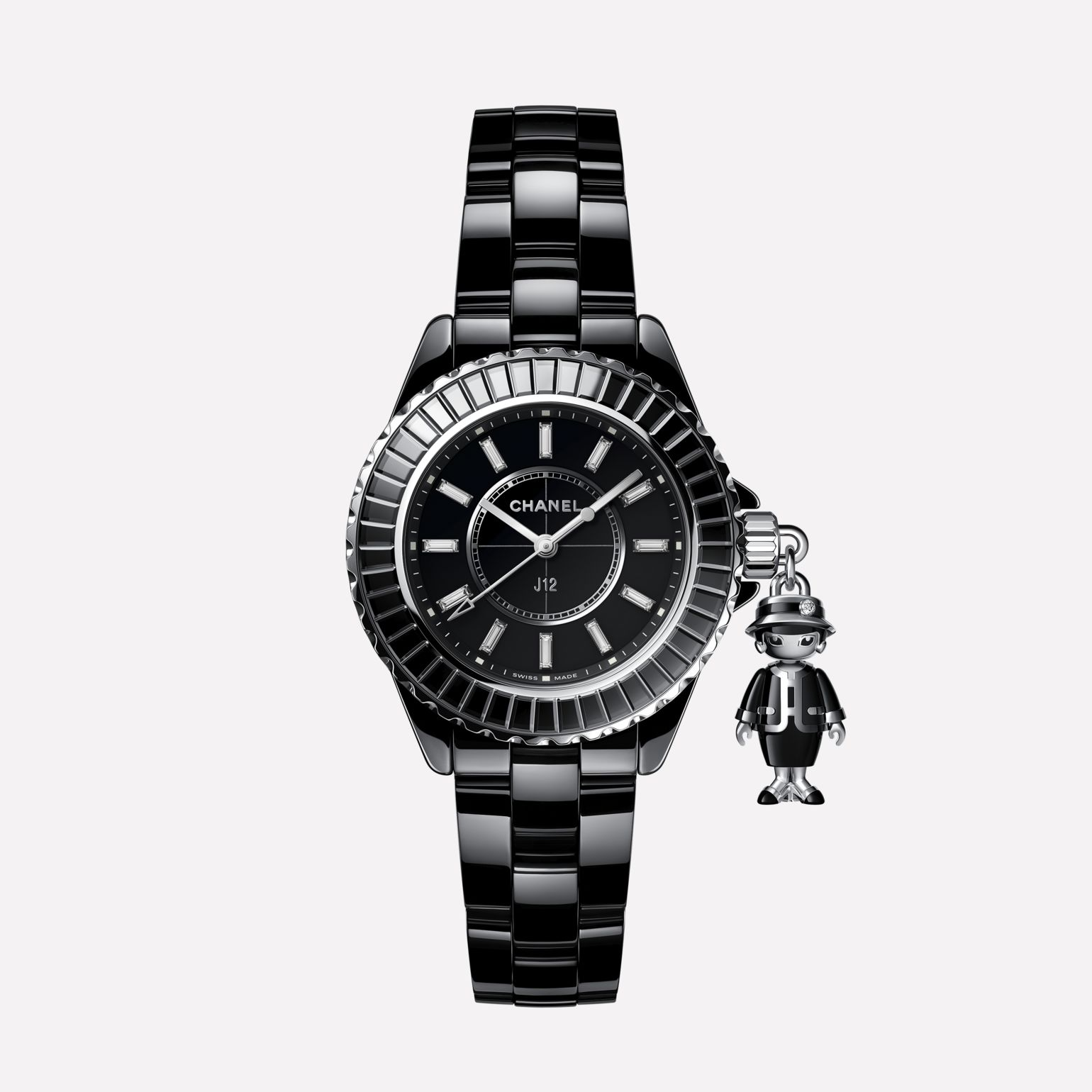 Mademoiselle J12 Acte II Watch, 33 mm Black highly resistant ceramic, 18K white gold and diamonds