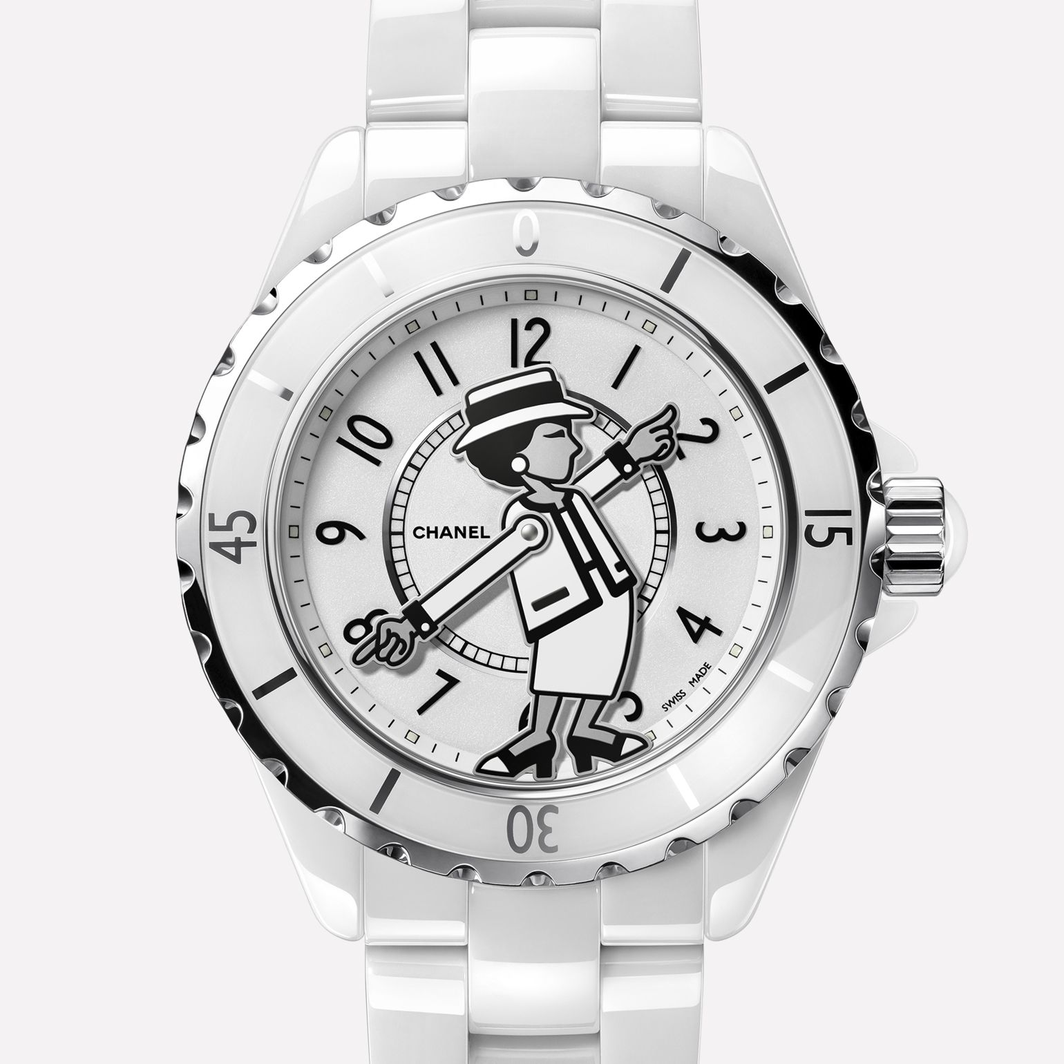 MADEMOISELLE J12 Watch White laquer dial. Silhouette of Mademoiselle CHANEL's arms indicate hours and minutes.