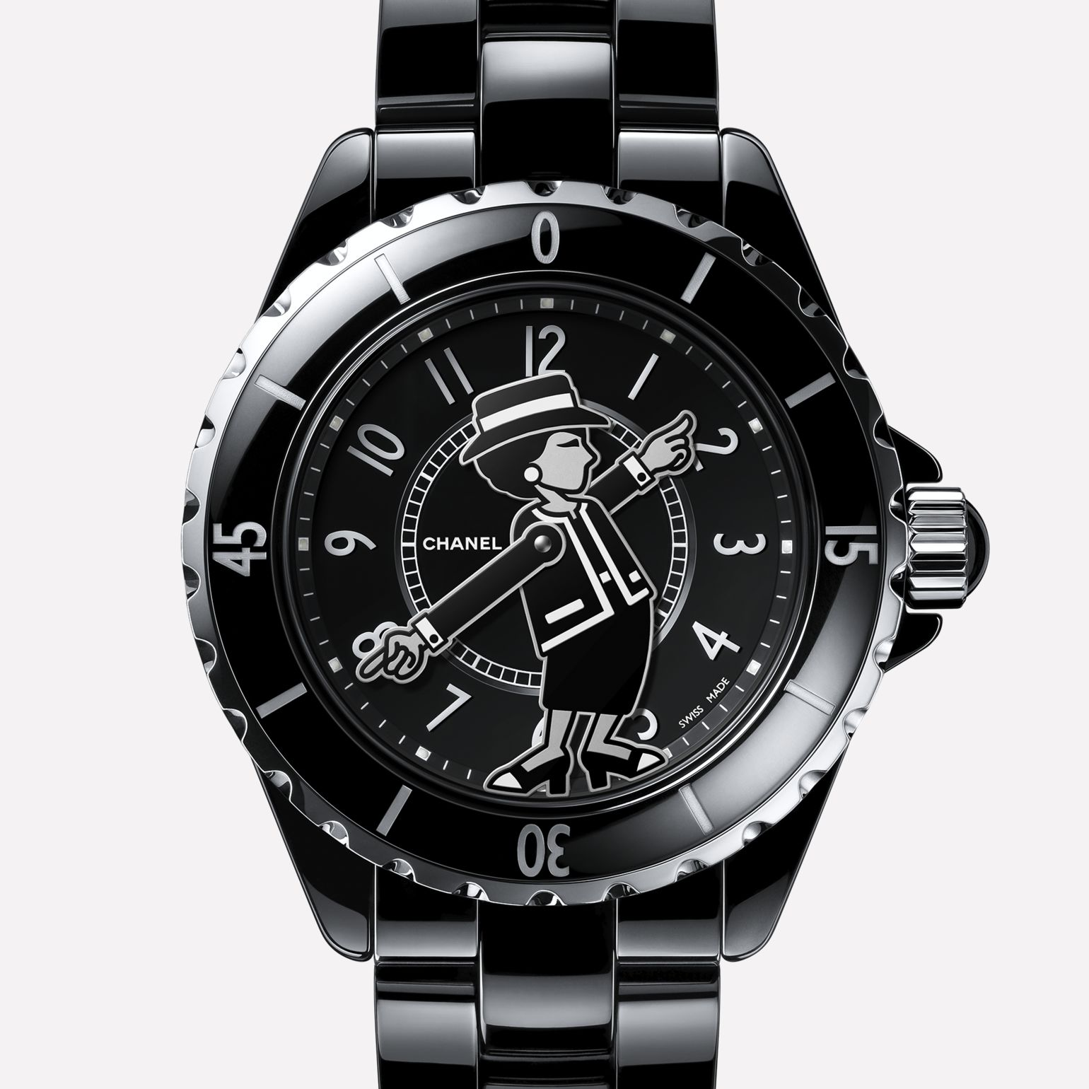 MADEMOISELLE J12 Watch Black ceramic and steel, silhouette of Mademoiselle Chanel